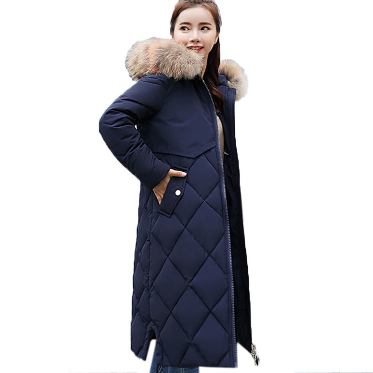 0ed3d07576b ... Plus Size Winter Women Jacket Coat Big Fur Hooded Warm Winter Parka  Jackets Long Thicken Down ...