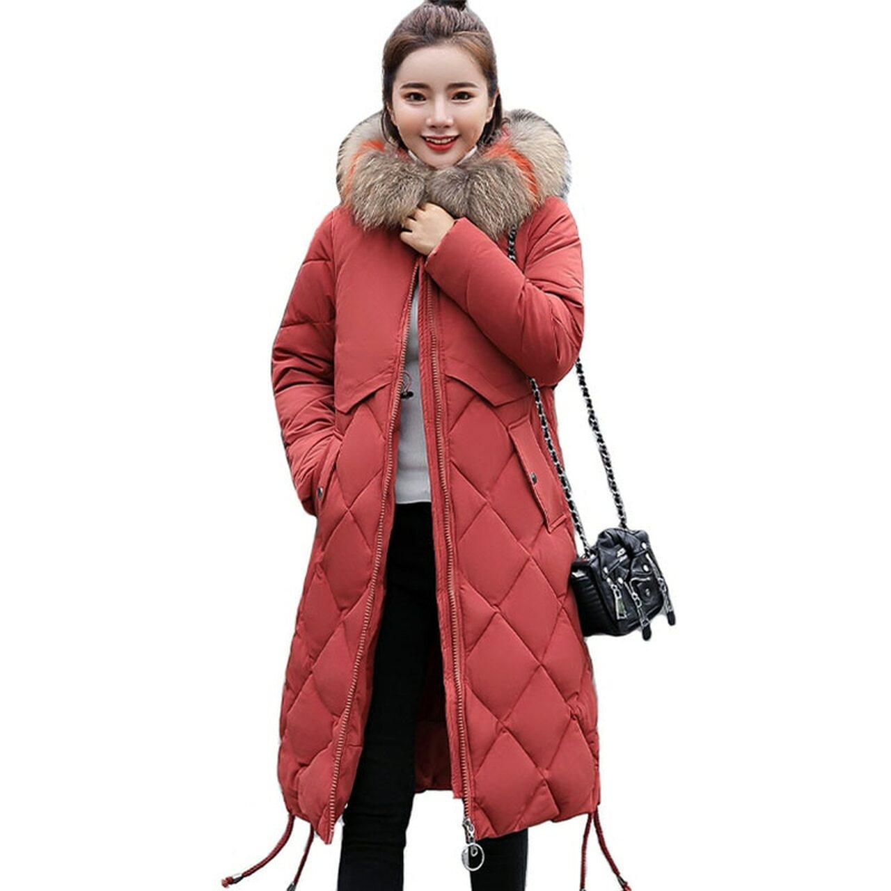293ee0020ea ... Plus Size Winter Women Jacket Coat Big Fur Hooded Warm Winter Parka  Jackets Long Thicken Down ...