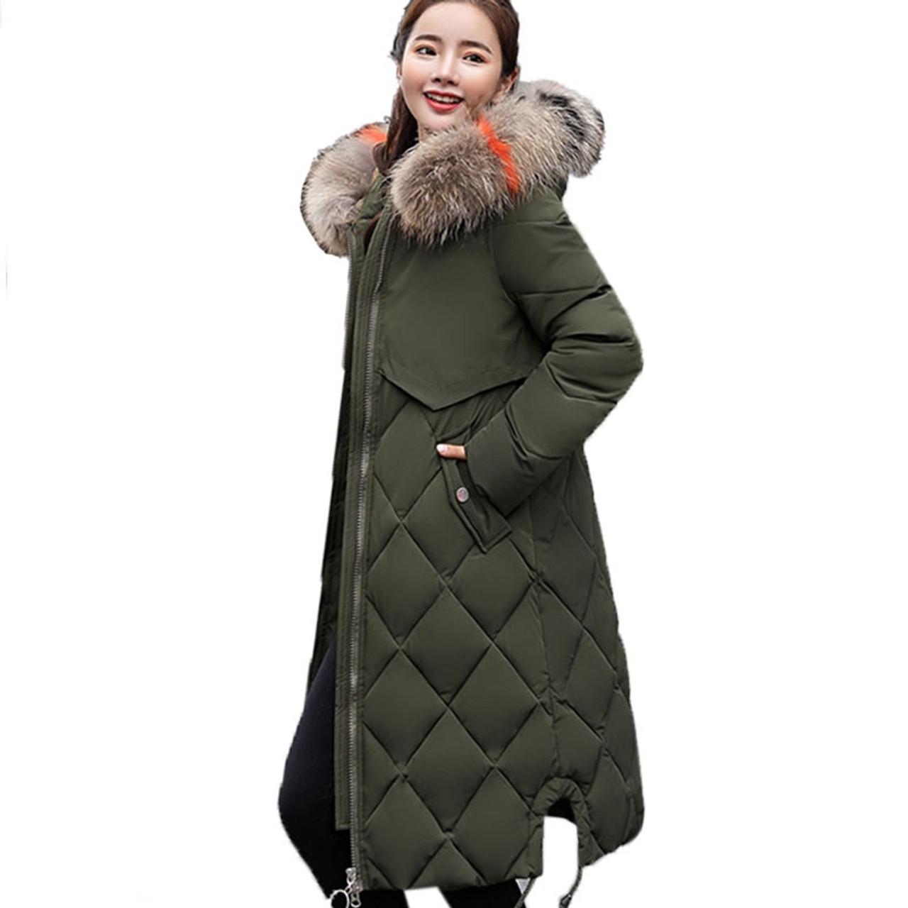 Turnschuhe für billige neue Season Suche nach Beamten Plus Size Winter Women Jacket Coat Big Fur Hooded Warm Winter Parka Jackets  Long Thicken Down Cotton Jacket Women parkas mujer