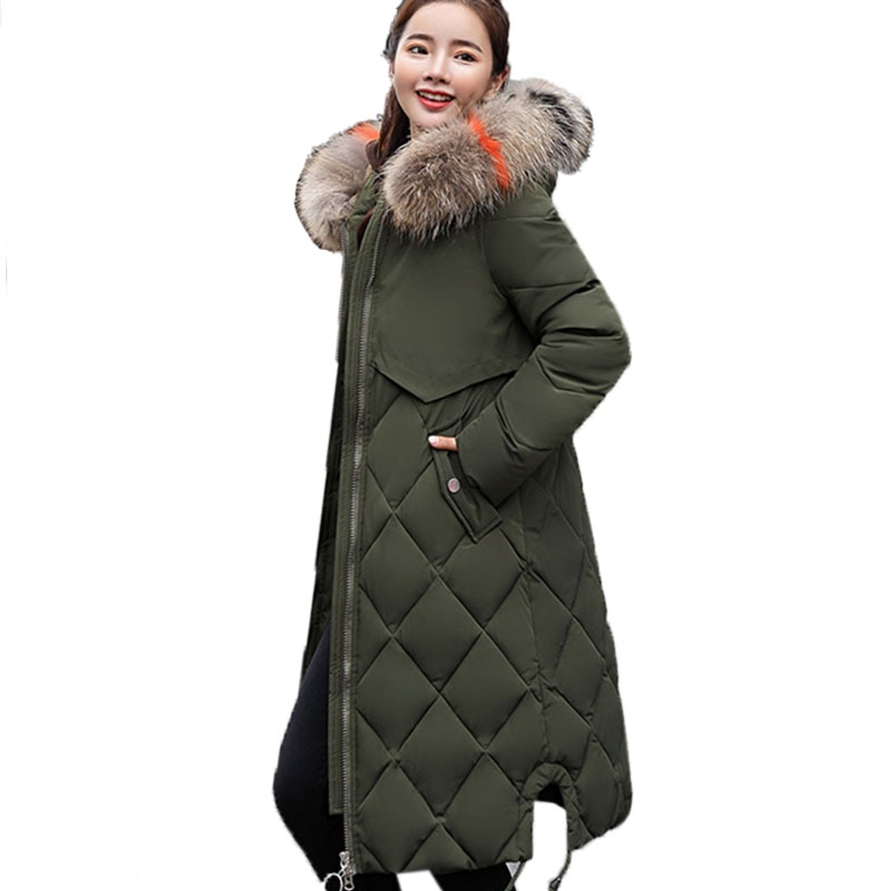 f27d86a9faceb ... Plus Size Winter Women Jacket Coat Big Fur Hooded Warm Winter Parka  Jackets Long Thicken Down ...