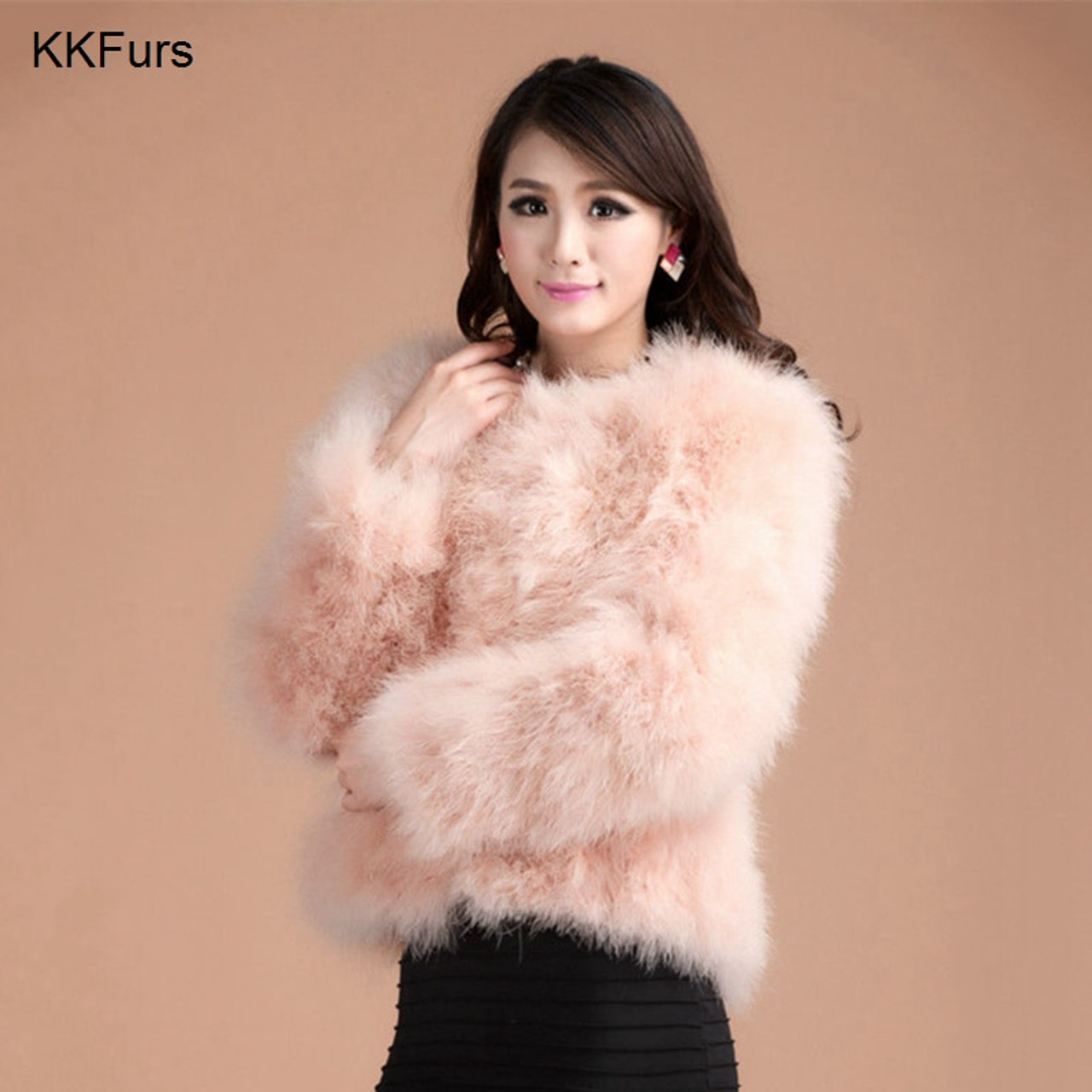 44faccebd2e JKKFURS 2018 New Women Coat Real Ostrich Feather Top Quality AA Lady Genuine  Turkey Fur Jacket ...