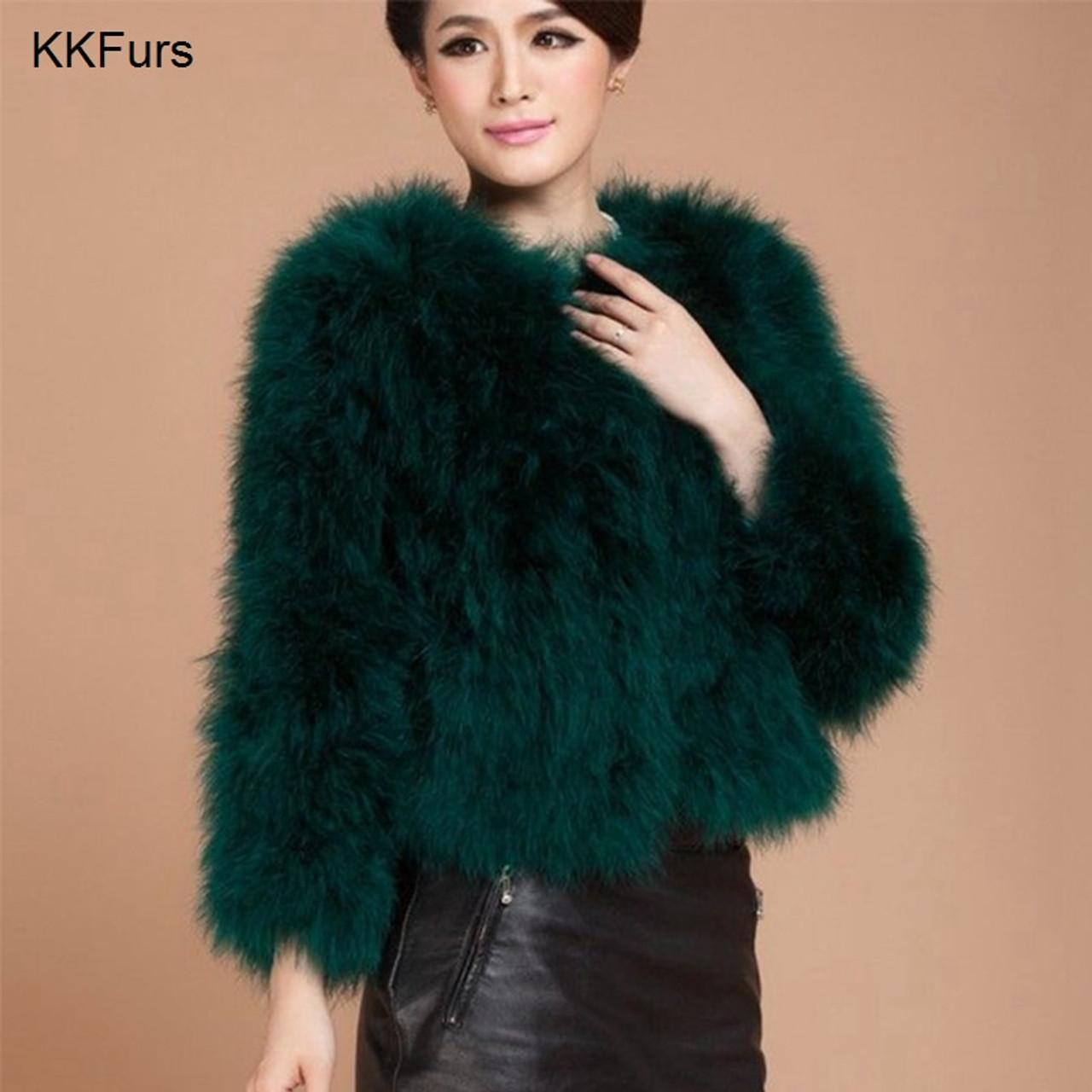 7fe0b5beb23 ... JKKFURS 2018 New Women Coat Real Ostrich Feather Top Quality AA Lady  Genuine Turkey Fur Jacket ...