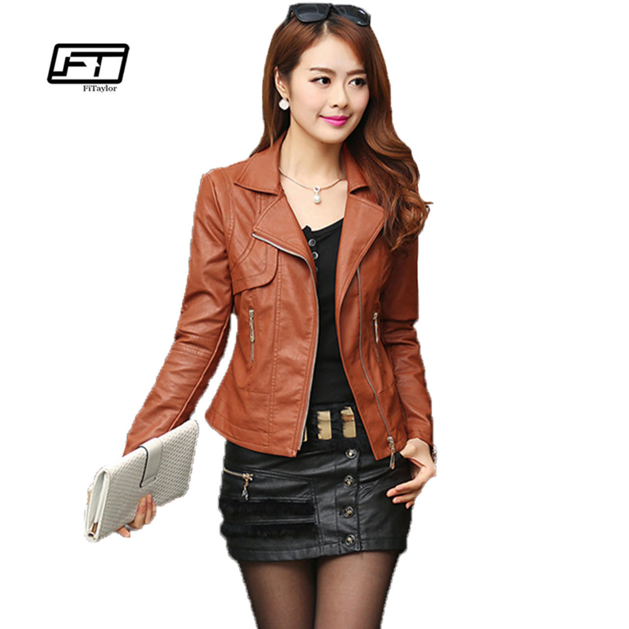 1ba700681748e Fashion Autumn Women Pu Leather Jacket Slim Motor Outwear Coat Zippers  Roupas De Couro Femininos Plus Size 4XL Elegant Punk Coat - OnshopDeals.Com