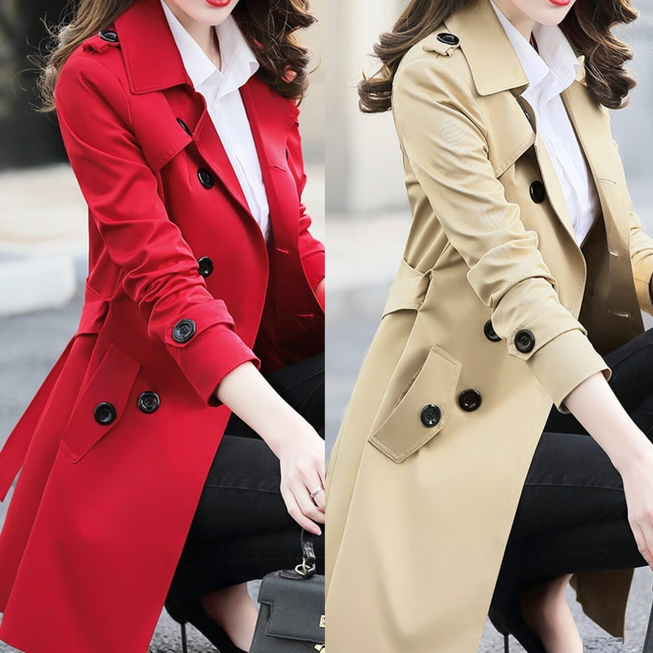 Plus Size Women Double easted Md Long Coat Belt Rench Coat