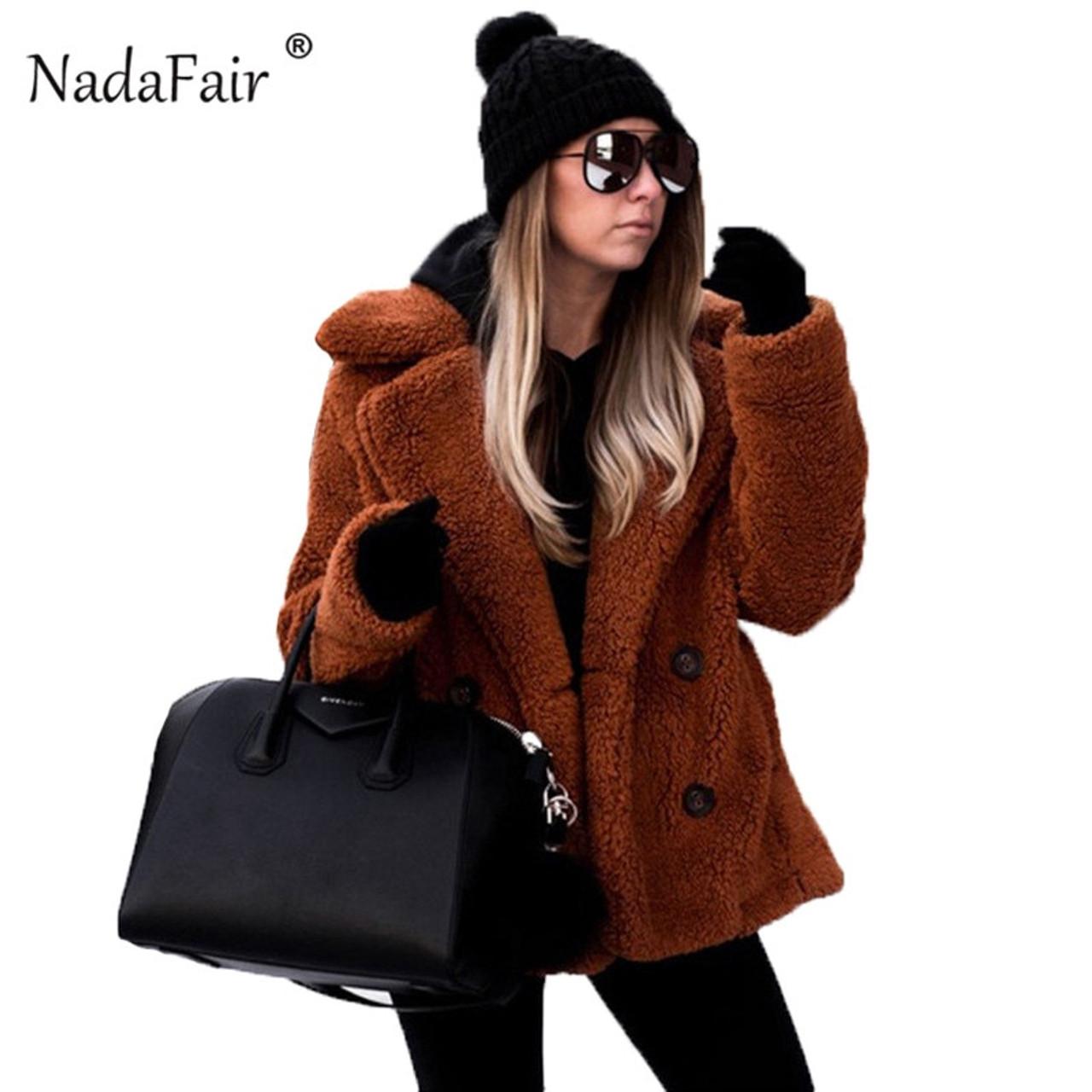 a5168d7b7a2 Nadafair plus size fleece faux fur jacket coat women winter pockets thick teddy  coat female soft ...