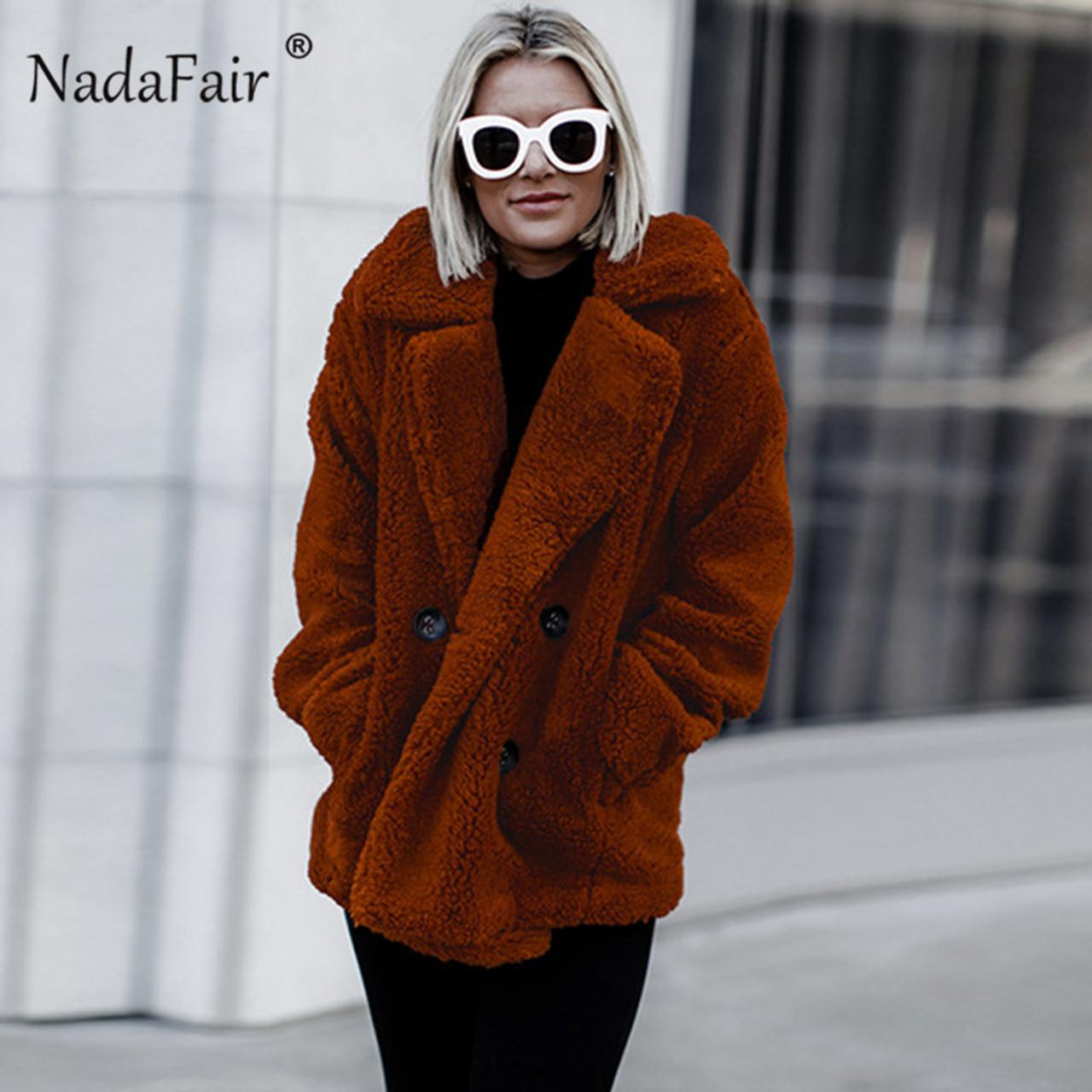 c8264102c3b ... Nadafair plus size fleece faux fur jacket coat women winter pockets  thick teddy coat female soft ...