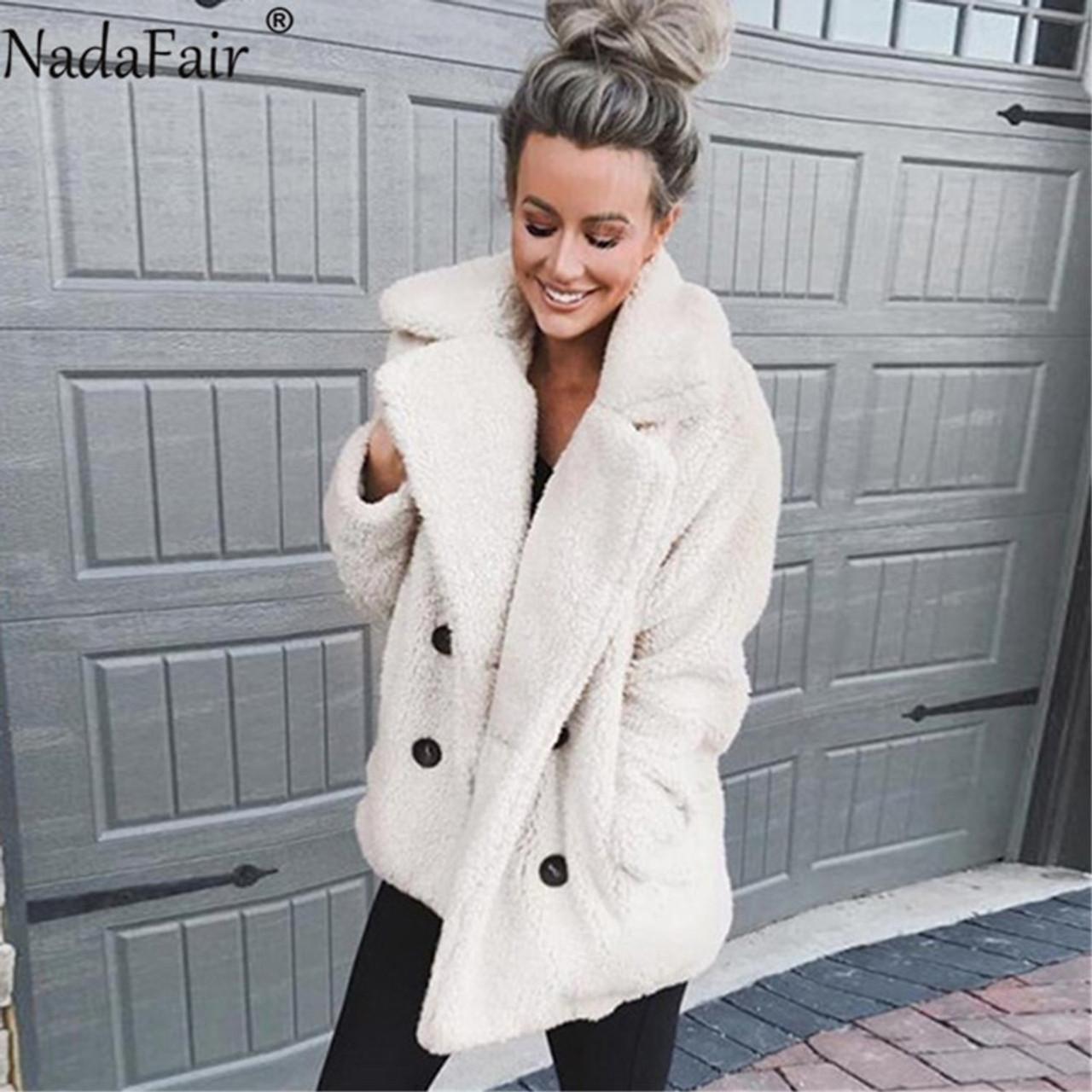8d3efc537b9 ... Nadafair plus size fleece faux fur jacket coat women winter pockets thick  teddy coat female soft ...