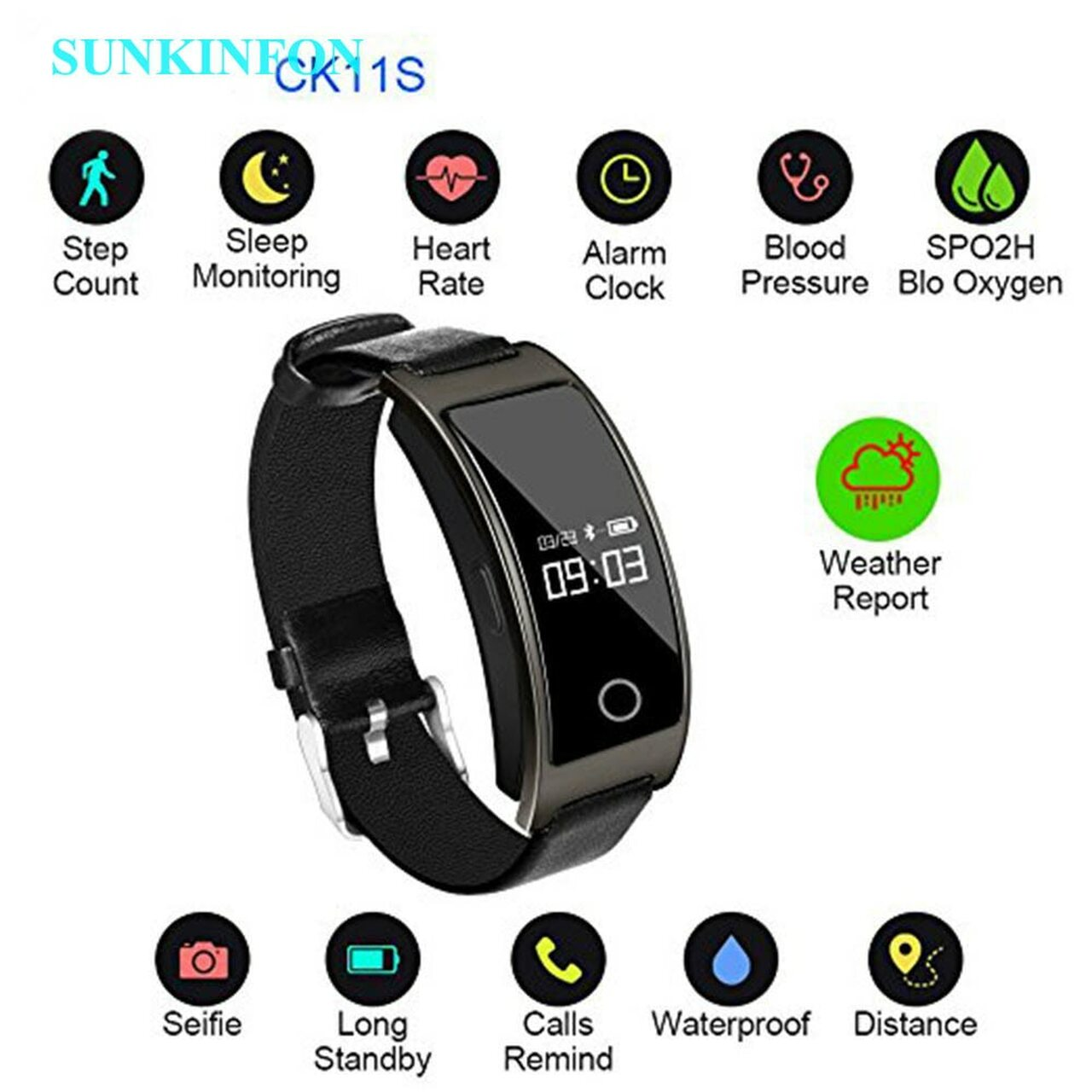 K1S Smart Wristband Blood Pressure Heart Rate Monitor Pedometer Wrist Watch  Fitness Tracker Bracelet for Samsung Galaxy S5 S4 S3