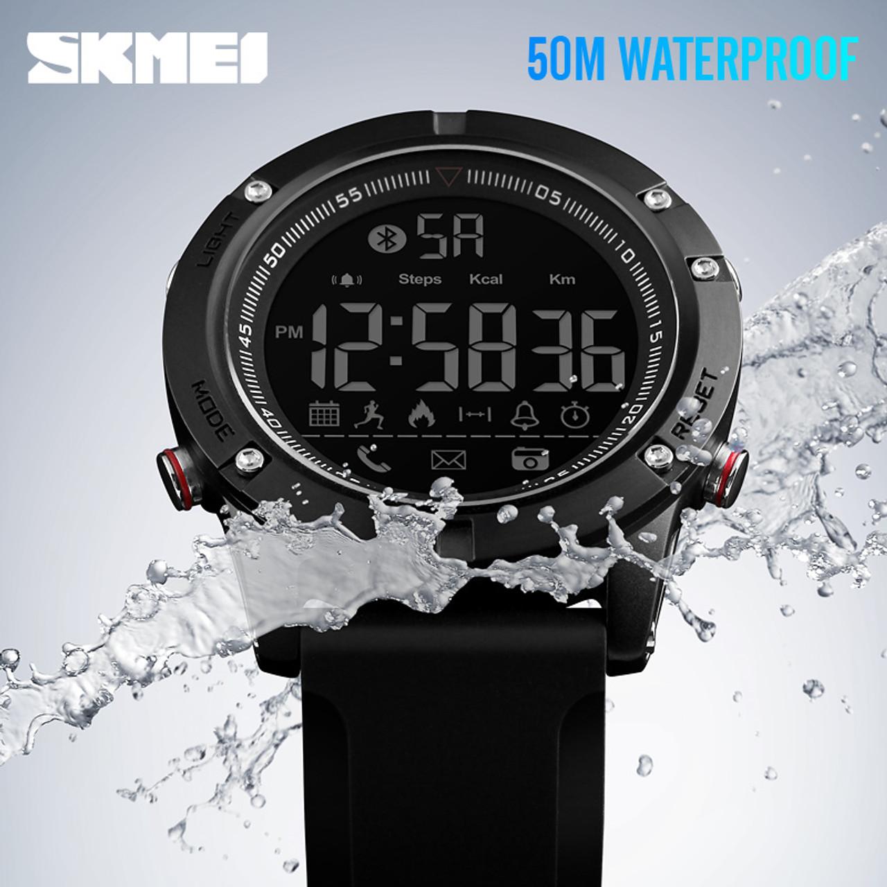 17f250f5deb587 ... SKMEI Sports Bluetooth Digital Wristwatches Fashion Smart Watch Men Pedometer  Calorie Remote Camera LED Military Watches ...