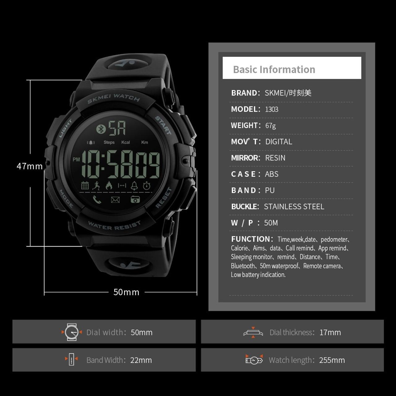 95a5f43e82f ... SKMEI Bluetooth Smart Watch Fashion Outdoor Pedometer Calories Remote  Camera Sports Watches 50M Waterproof Digital Wristwatches ...