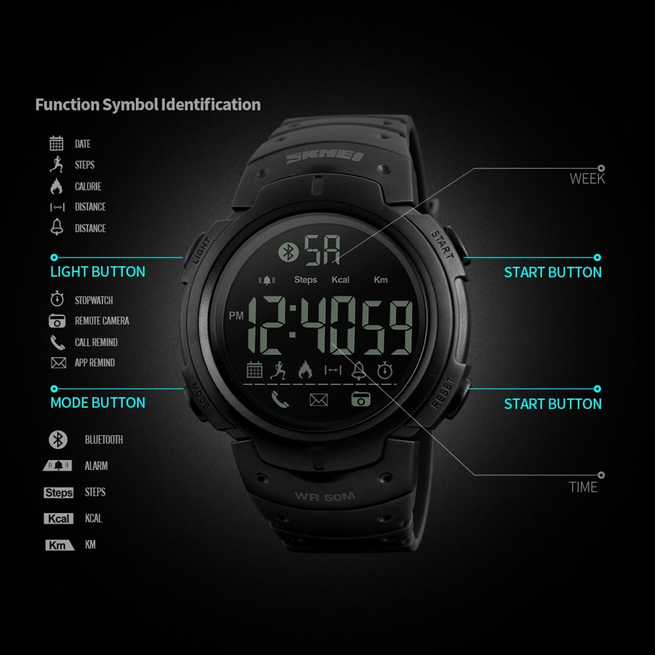 da1681479cbbab ... Men's Sport Smart Watch SKMEI Brand Fashion Pedometer Remote Camera  Calorie Bluetooth Smartwatch Reminder Digital Wristwatches ...