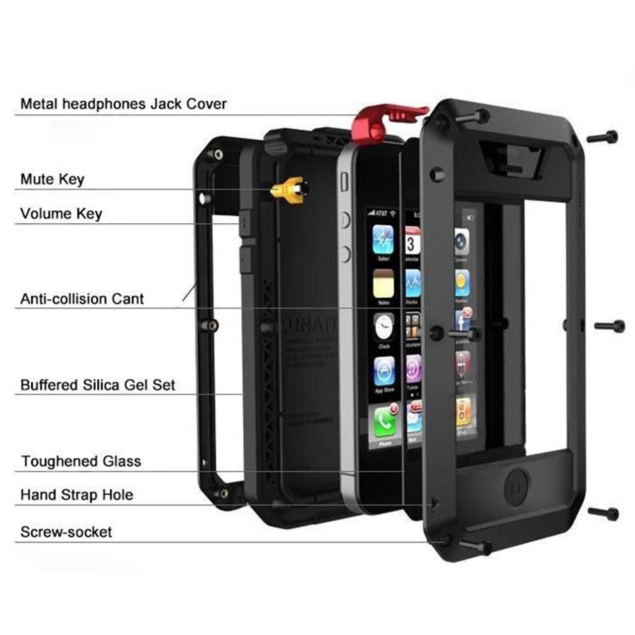 quality design 6130f 7a1c5 Heavy Duty Protection Doom armor Metal Aluminum phone Case for iPhone 6 6S  7 8 Plus X 4 4S 5S SE 5C Shockproof Dustproof Cover