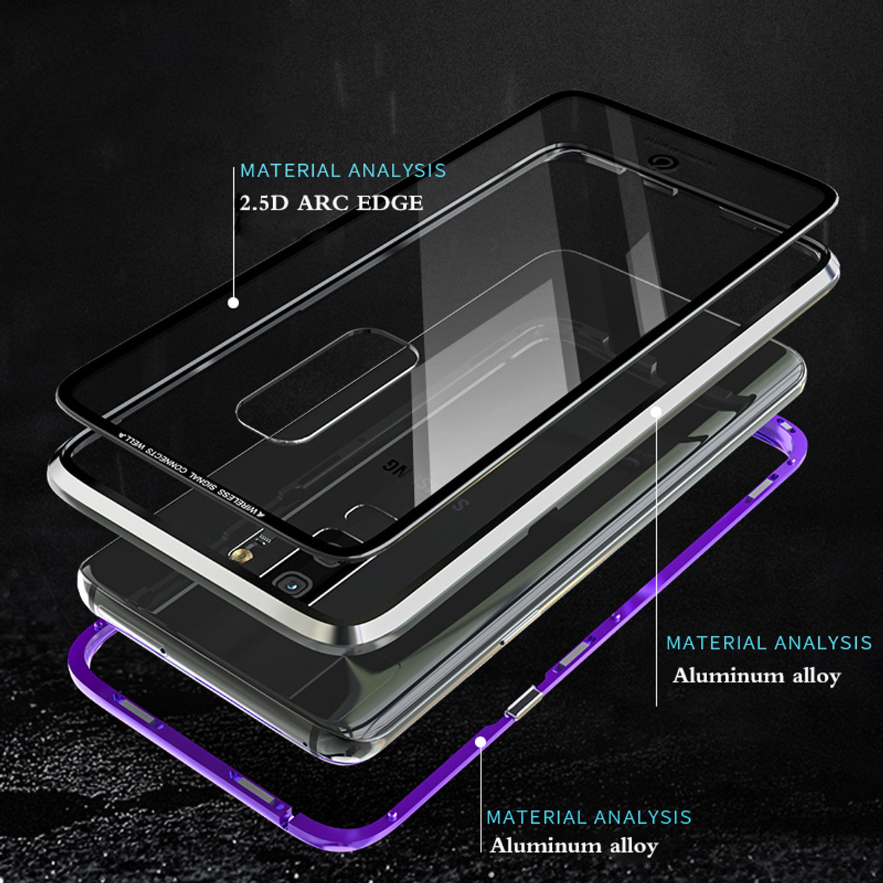 free shipping 4d781 74af3 Original Brand-New Magnetic Case for Samsung Galaxy S9 Plus Aluminum Metal  Frame Tempered Glass Back Cover Case For Galaxy S9