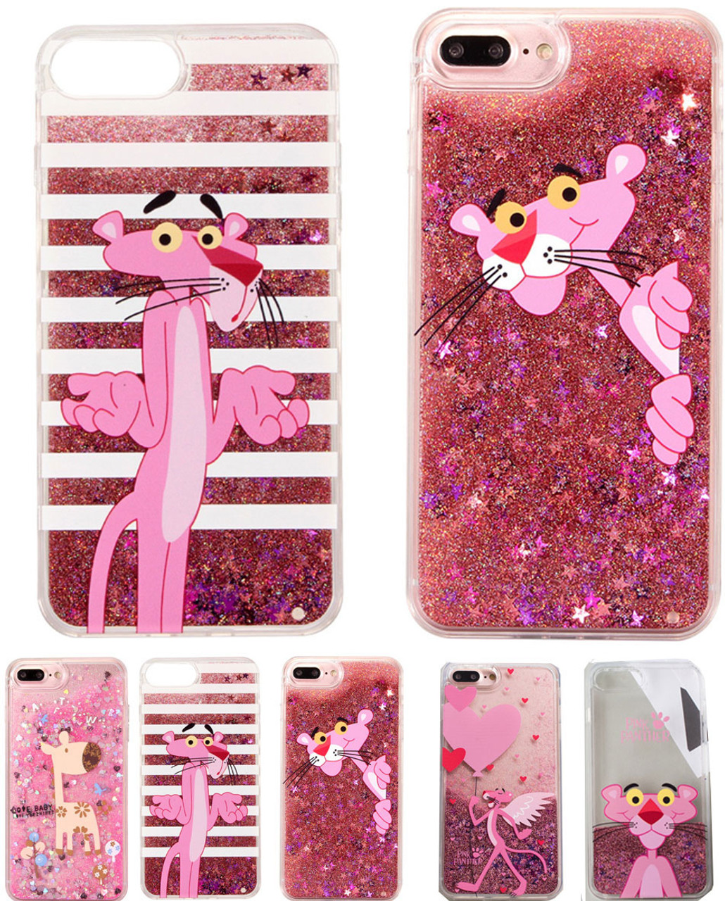hot sale online d47cb be2a0 Luxury Water Liquid Phone Case for iPhone 8 7 6 6S Plus Cartoon Pink  Panther Leopard Sparkle Glitter Star Soft TPU Cover