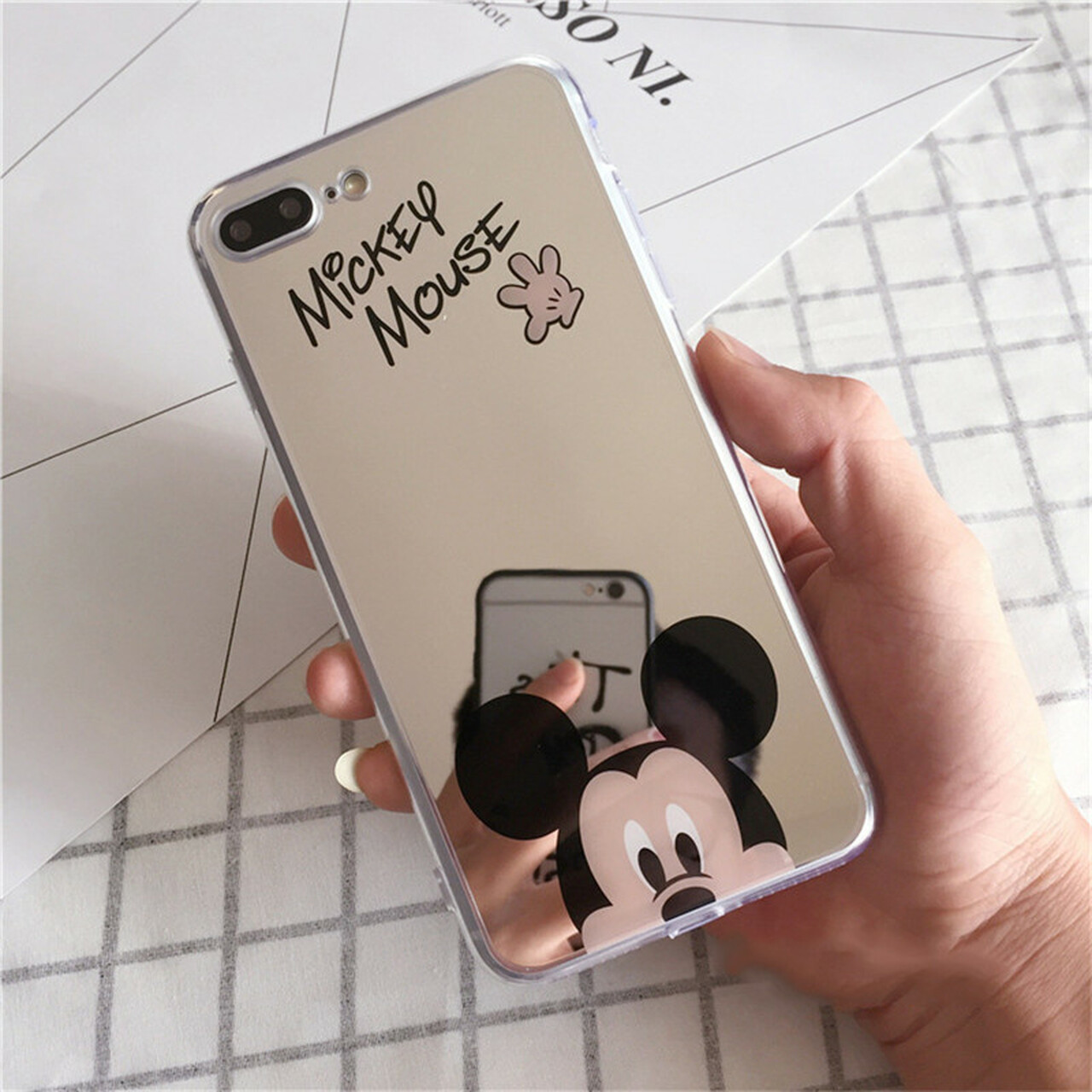f8008c88322 ... Luxury Mirror Phone Bag Case for iPhone 6S 6 s 7 8 Plus Mickey Minnie  Silicone ...