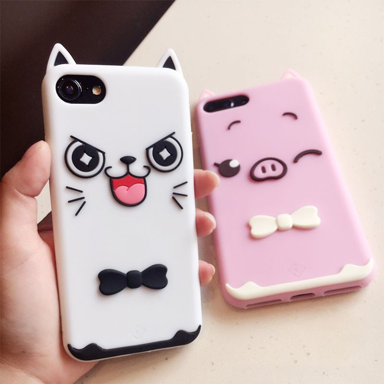 size 40 e7003 54538 3D Cartoon Soft Silicone Phone Case For iPhone 5S 6 6S 7 8 Plus X Cover  Mickey Judy Rabbit Smile Cat Tiger Stitch Unicorn Animal