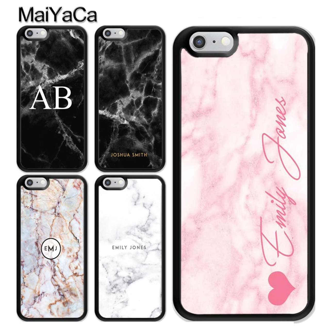 new product b953a 4d1a7 MaiYaCa Personalised Marble Initial Name Custom Cell Phone Case for iPhone  7 8 Plus 5 5s SE 6 6s X 10 Soft Rubber Phone Bag Capa
