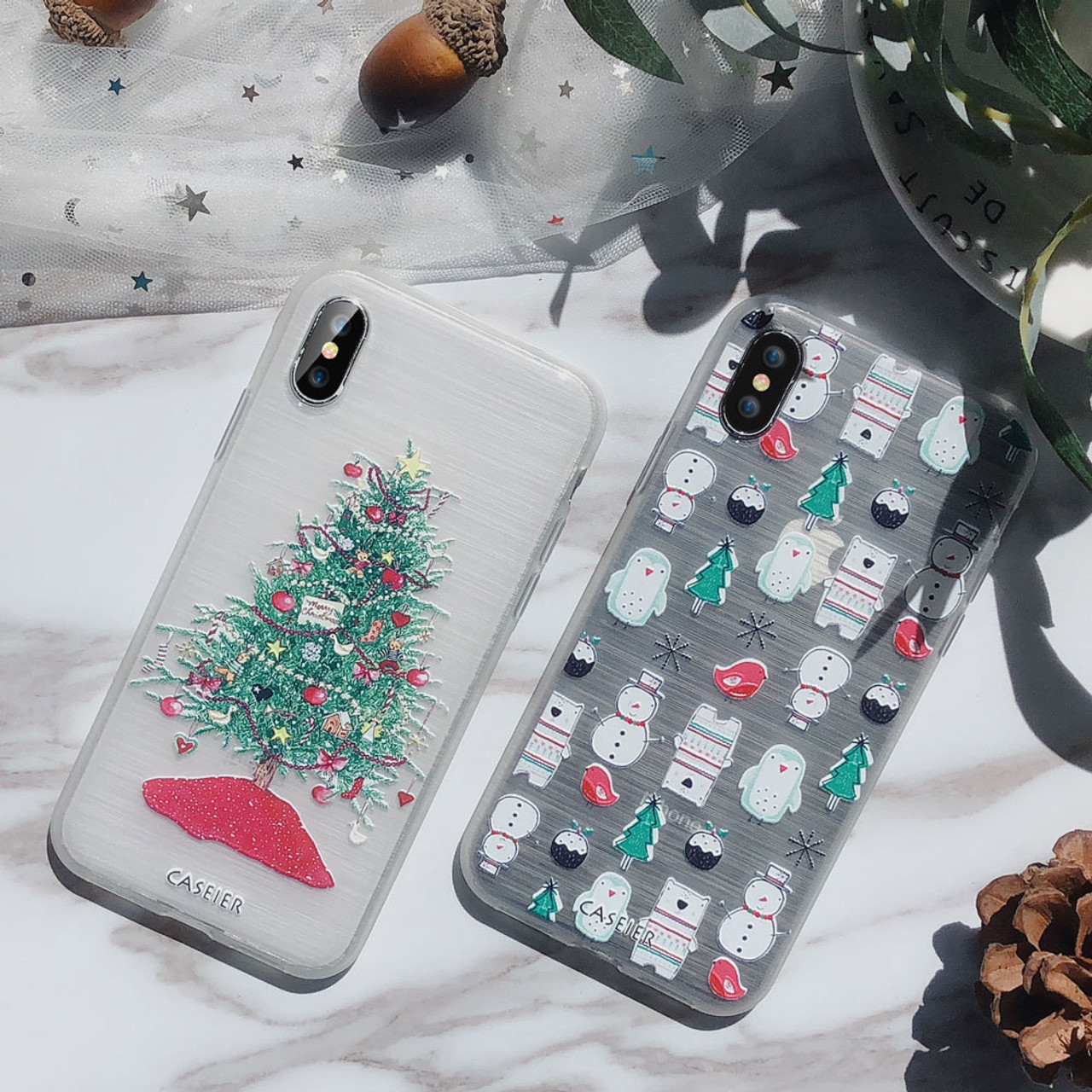 Christmas Phone Case Iphone 7.Caseier Girly Christmas Phone Case For Iphone 5 Se 6 6s 7 8 Plus X Cute Emboss Soft Tpu Covers For Iphone X Xs Max Xr 5s 7 Plus
