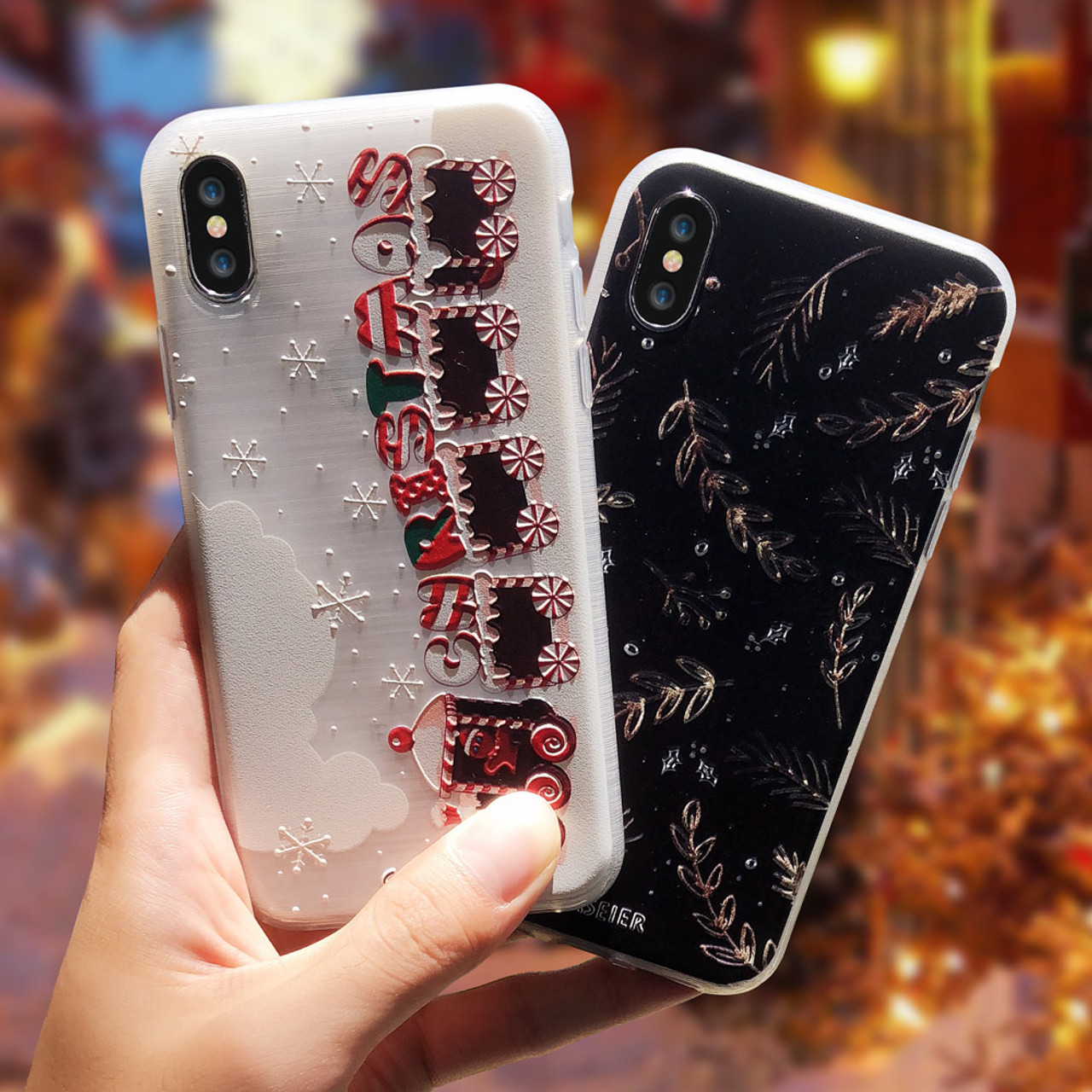 Christmas Phone Case.Caseier Girly Christmas Phone Case For Iphone 5 Se 6 6s 7 8 Plus X Cute Emboss Soft Tpu Covers For Iphone X Xs Max Xr 5s 7 Plus