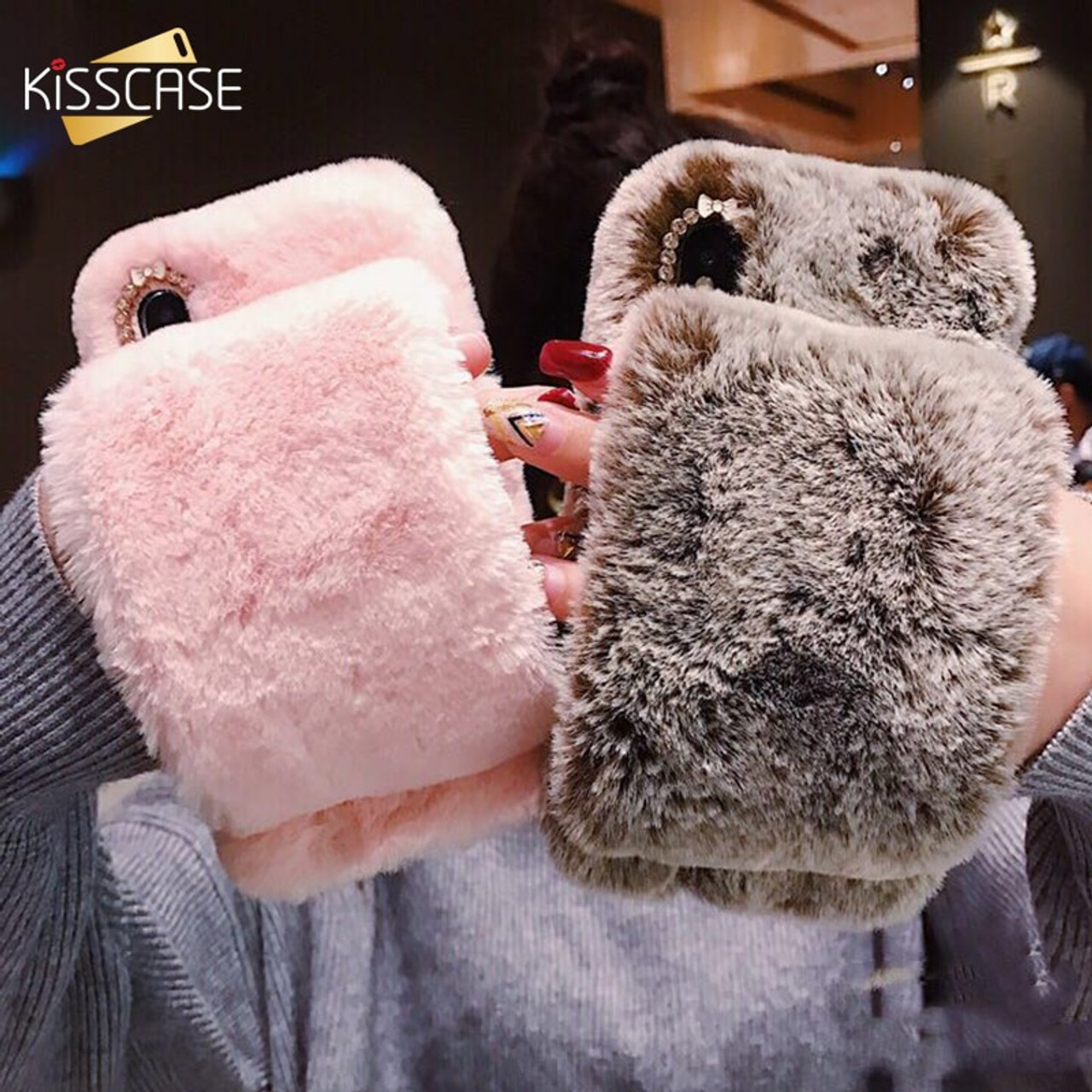low priced 6f275 3f1c3 KISSCASE Rabbit Fur Case For iPhone X 7 8 6S 6 Plus Fluffy Phone Cases For  iPhone Xr Xs Max Handheld Warm Plush Back Cover Funda