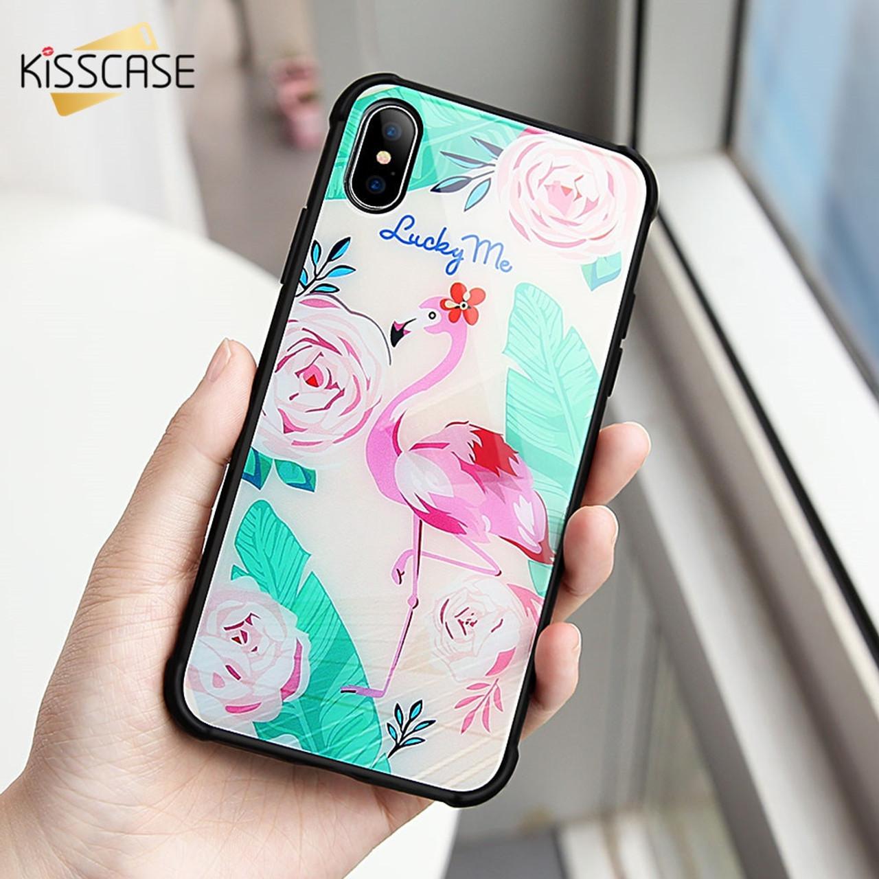 35546ca005 KISSCASE Tempered Glass Phone Case for iPhone X 10 Cover Cute Unicorn  Flamingo Owl Phone Case for iPhone 6 7 8 Plus Fundas Coque