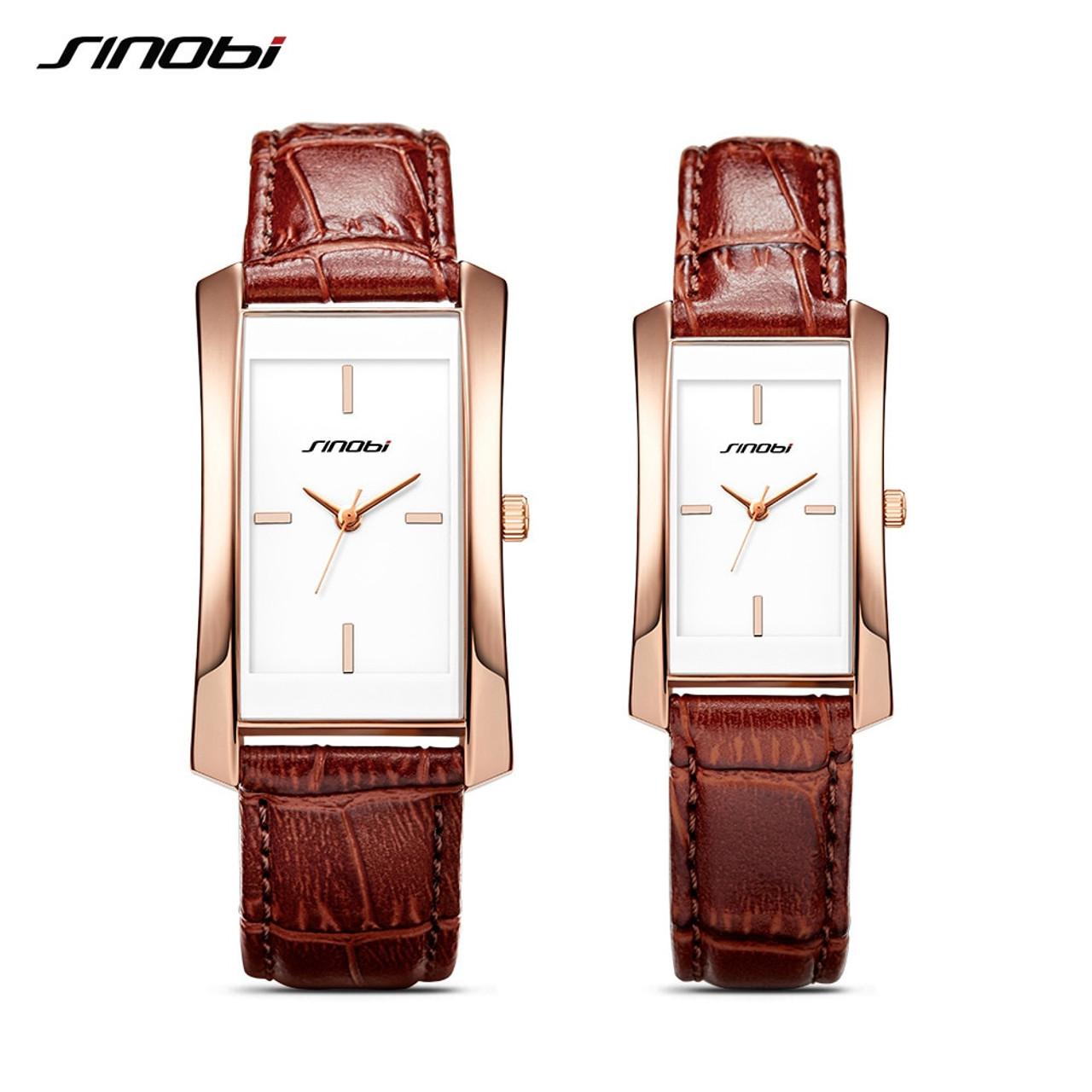 39b2d0bedec4 Sinobi Couple Watches Wedding Gift Noble Rose Gold Rectangle Wristwatch  Brown Strap Men Women Analog Quartz ...