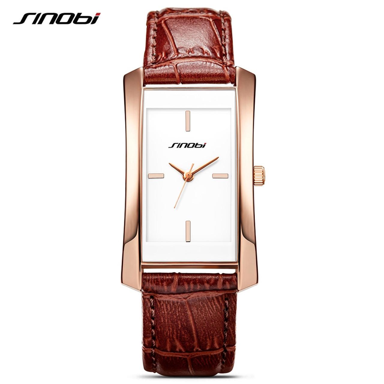 928cfabb3db3 ... Sinobi Couple Watches Wedding Gift Noble Rose Gold Rectangle Wristwatch  Brown Strap Men Women Analog Quartz ...