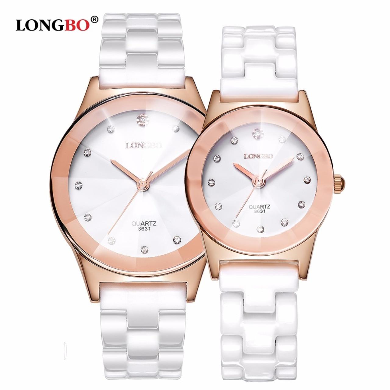 554284e8d23 ... 2018 LONGBO Top Brand Fashion Quartz White Ceramic Lovers Watches  Luxury Casual Unique Ladies Dress Wristwatch ...