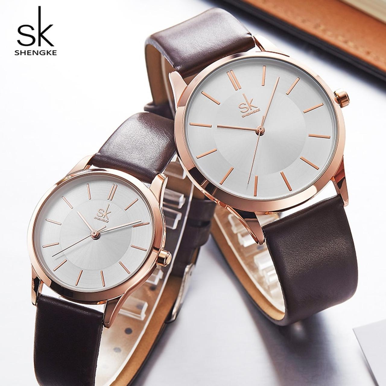 0640b734e521 Shengke New Fashion Leather Strap Women Men Couple Watches Luxury Quartz  Female Male Wrist Watch 2018 ...