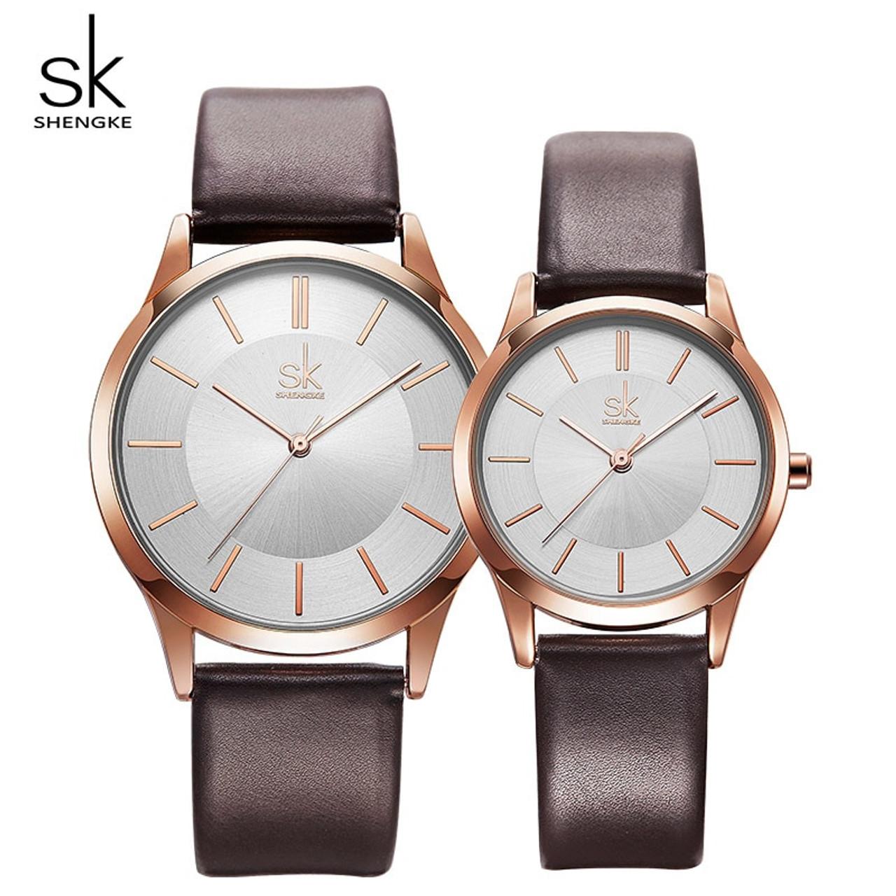 92f5001b07cd ... Shengke New Fashion Leather Strap Women Men Couple Watches Luxury Quartz  Female Male Wrist Watch 2018 ...