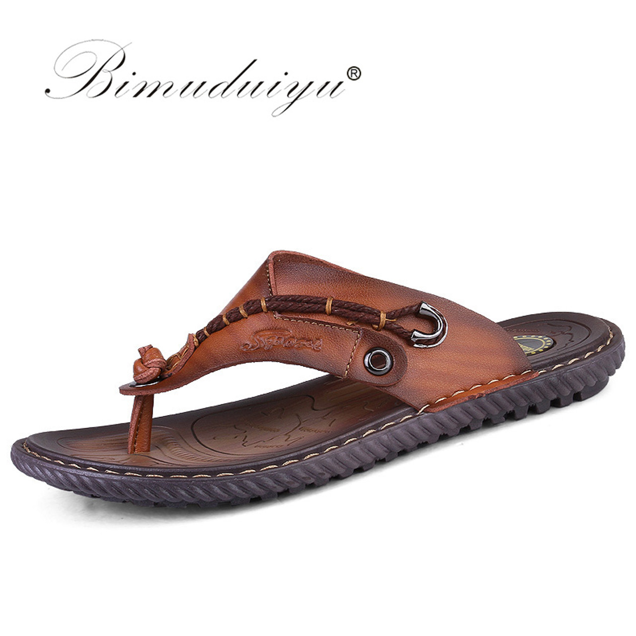 Men Outdoor Beach Flat Shoes Faux Leather Flops Slippers Sandals Vacation Flip