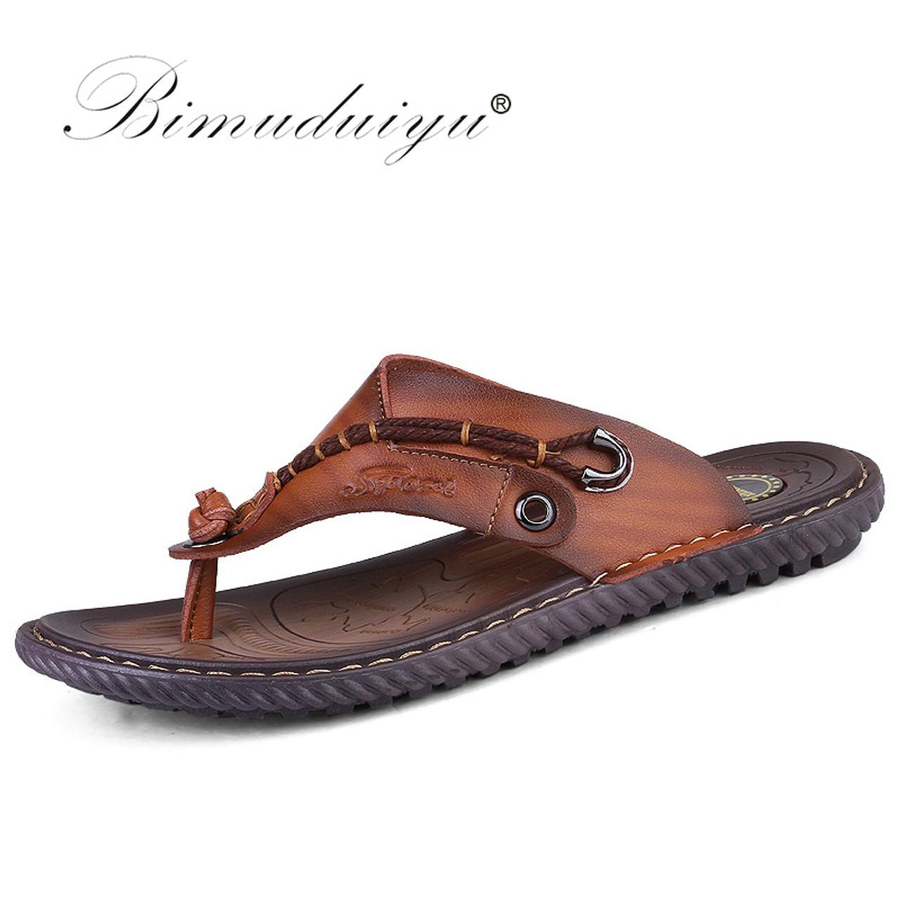 0ac31c8bd6e2 BIMUDUIYU Luxury Brand Flip Flops Soft comfortable Microfiber Leather  Slippers Beach Slipper Flip Flop Summer Shoe ...