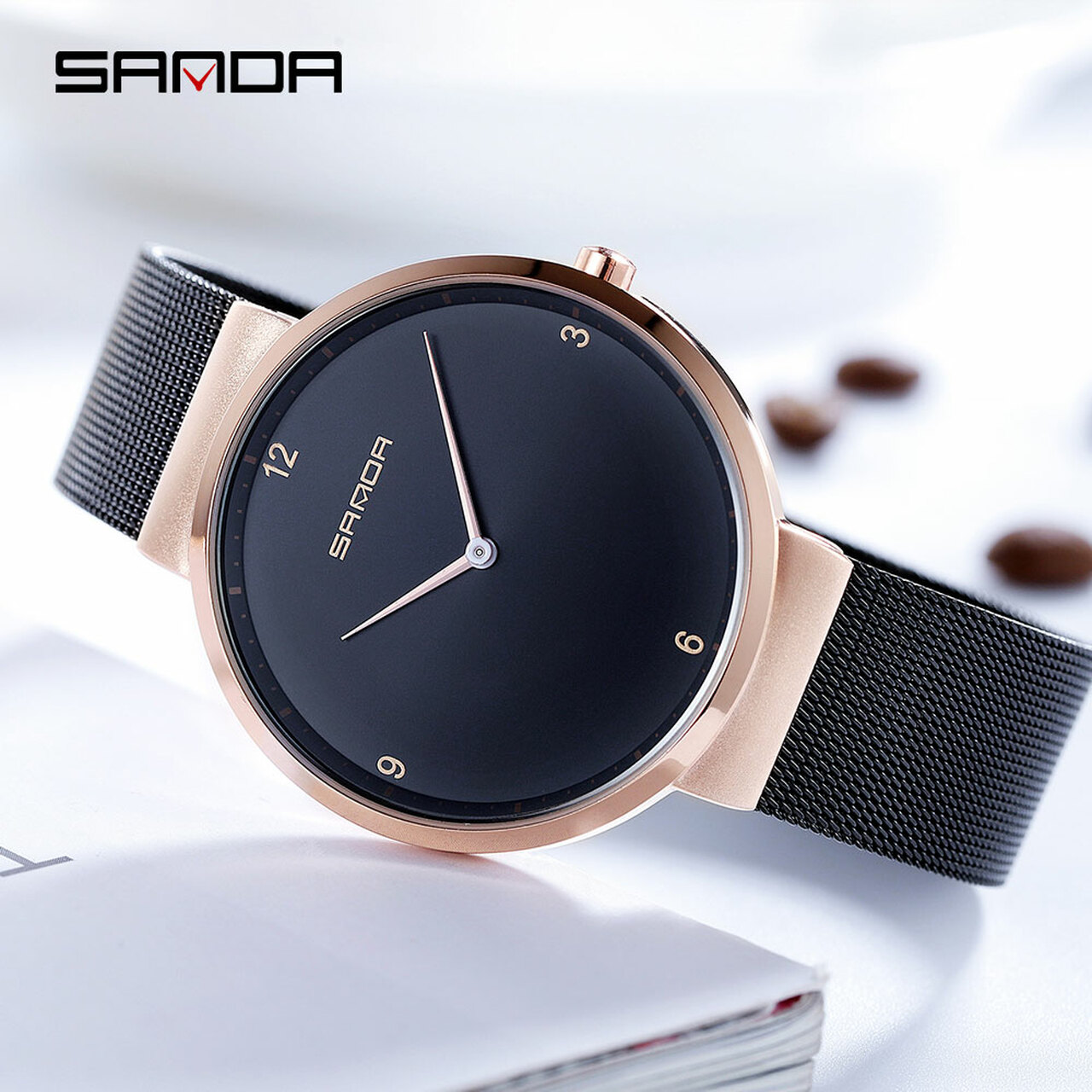 81e112e2bfaf ... SANDA Fashion Simple Couple Watches Men Watch Full Steel Mesh Belt  Quartz Wristwatch Ultra-thin ...