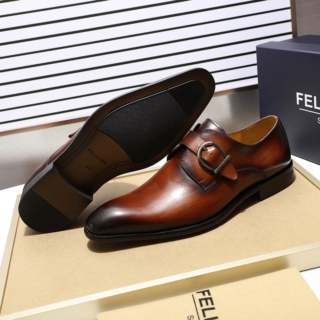 3287ad05c00 ... FELIX CHU European Style Handmade Genuine Leather Men Brown Monk Strap Formal  Shoes Office Business Wedding ...