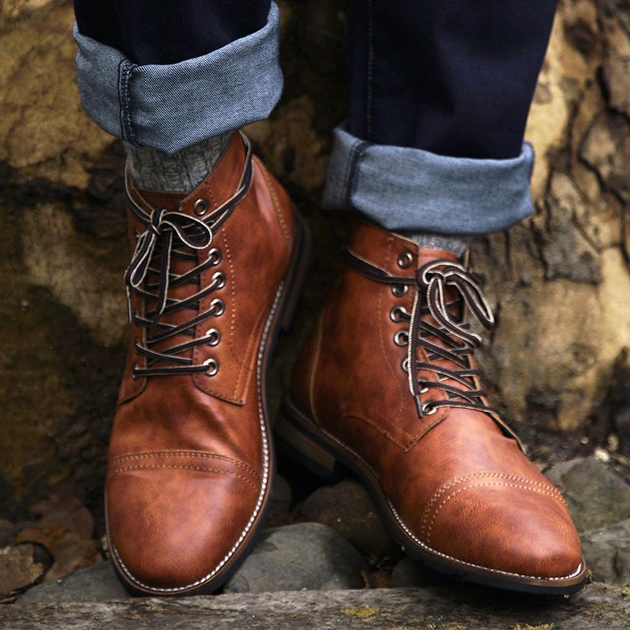 Men Boots Autumn Winter Shoes Men Fashion Lace-up Boots PU Leather Male Botas 20