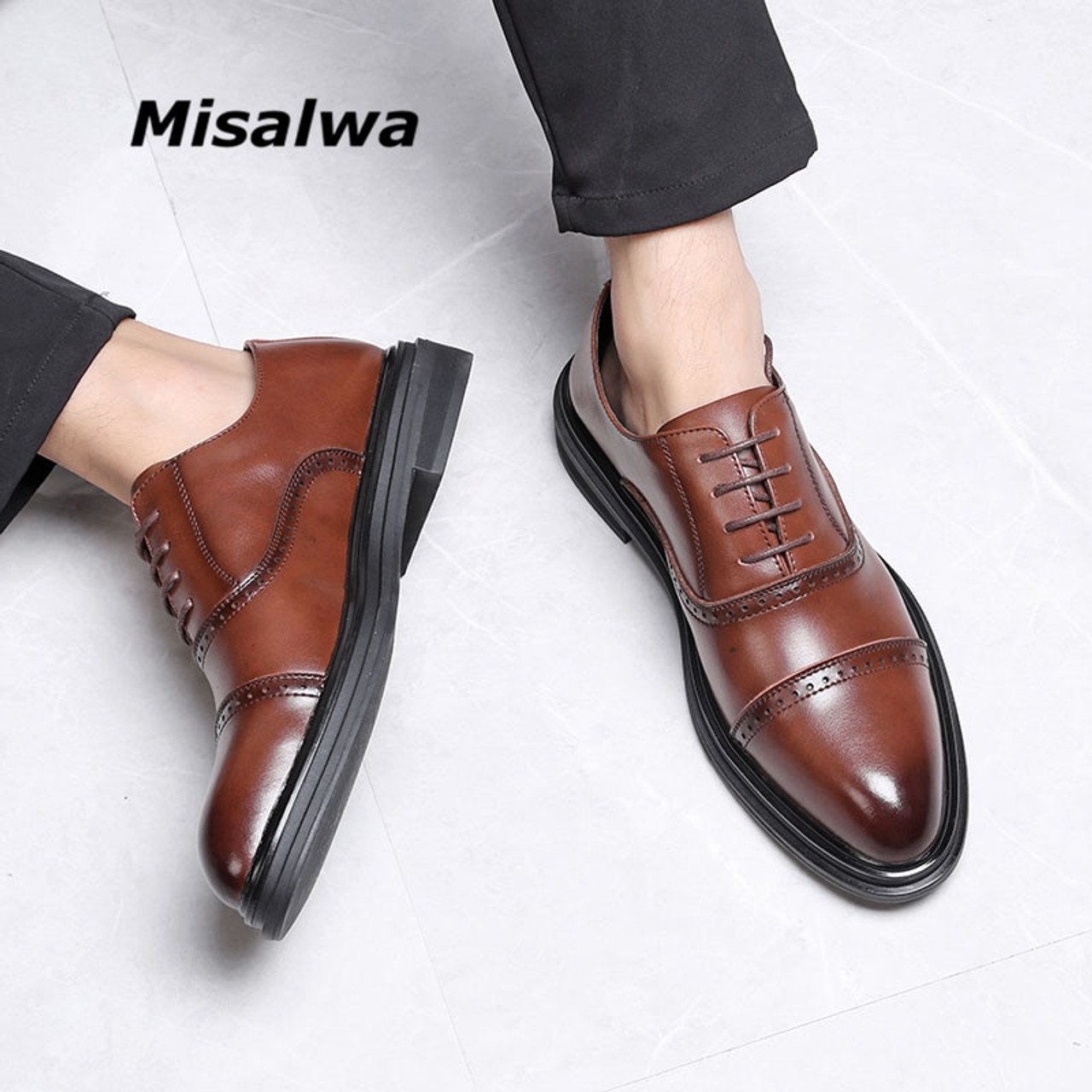 Misalwa Triple Joint Men Casual Dress Shoes Male Oxfords Office