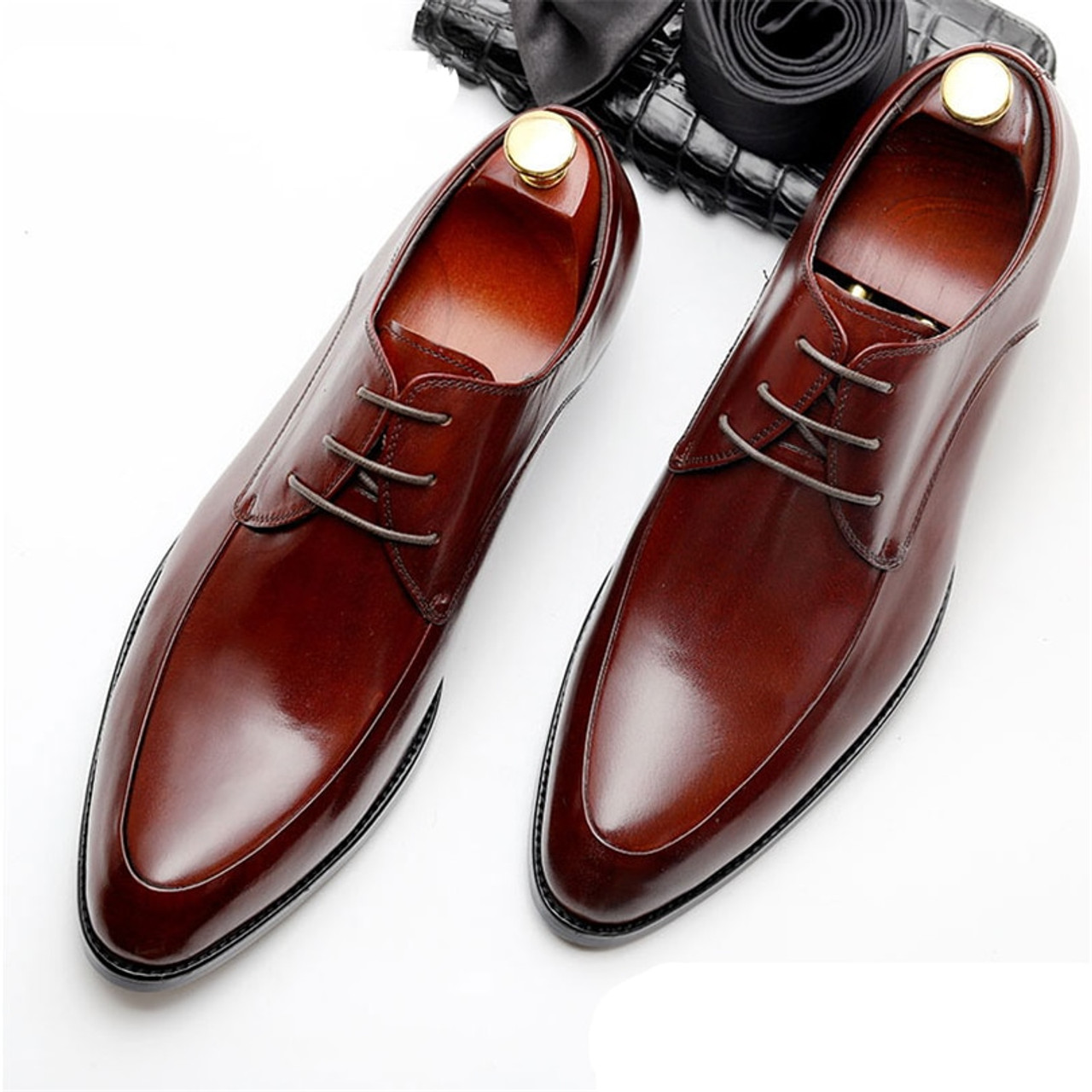 los angeles hot sale enjoy cheap price Mens Bullock genuine leather shoes luxury brand black men party wedding  dress shoe Business Leather Shoes Phenkang