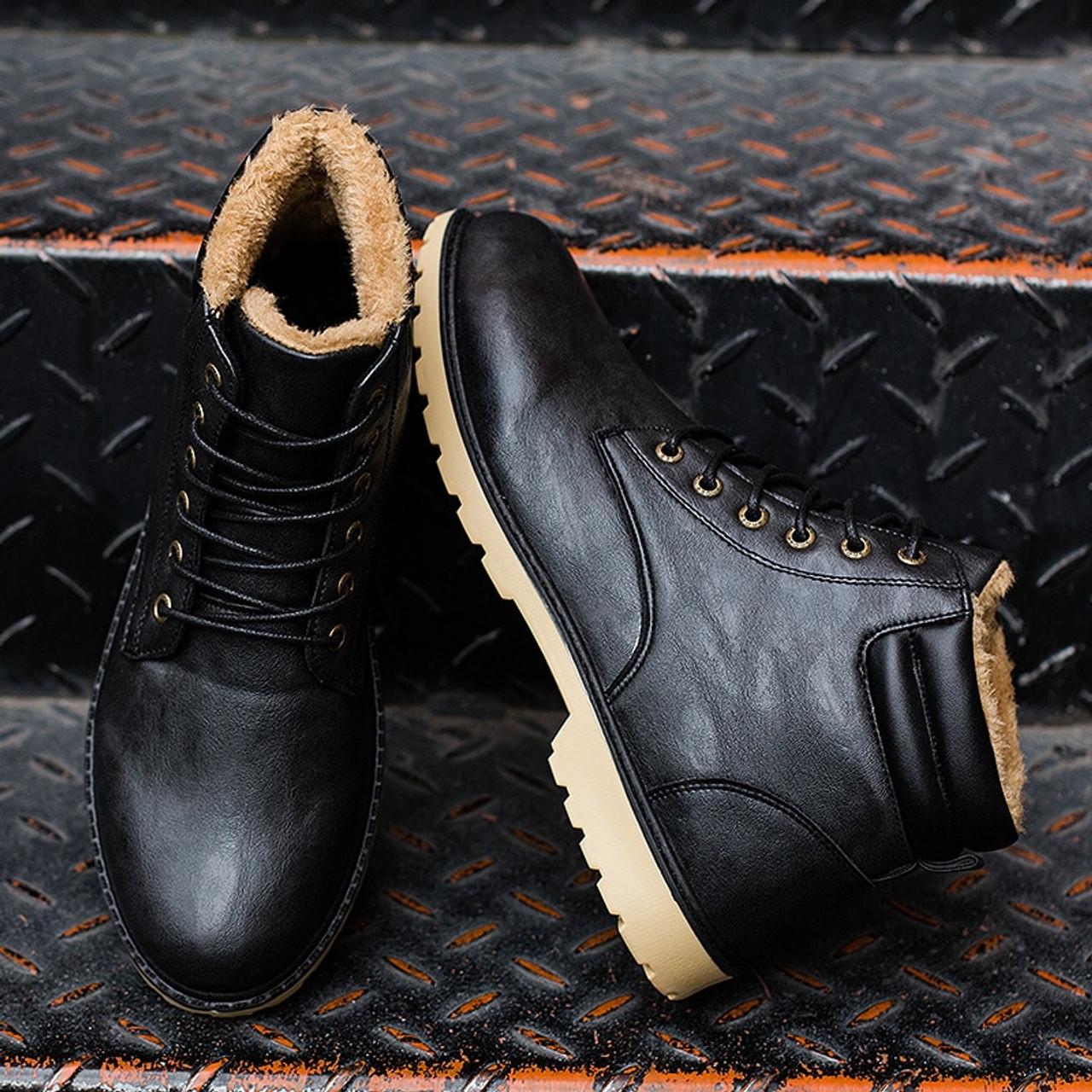 6f722da4385 Mens Boots Winter Ankle Fashion Classic Shoes Plush Warm Man Snow Boots  2018 Hot Sales Quality Leather Winter Shoes Men