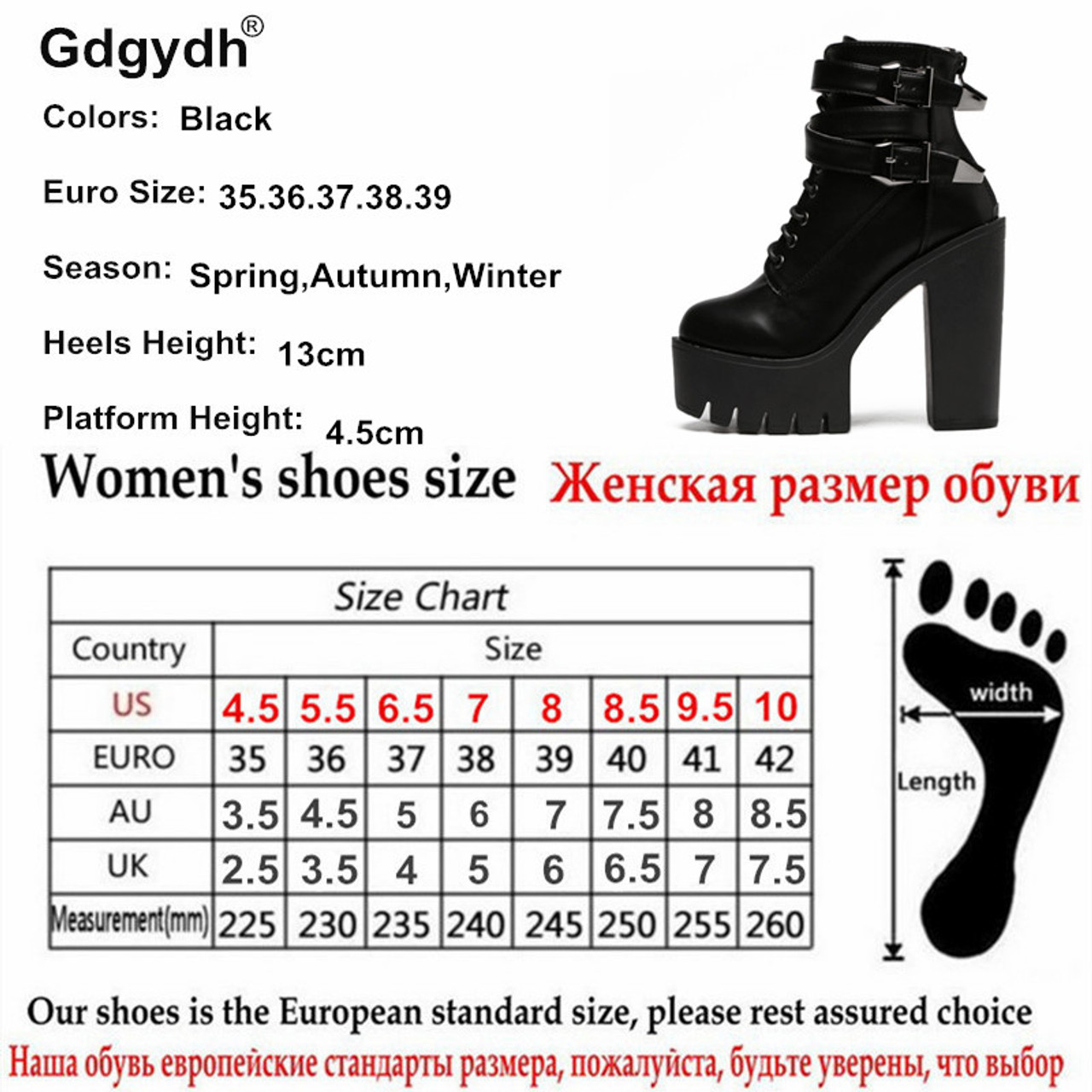 165a46d084f02 ... Gdgydh 2017 Spring Fashion Women Boots High Heels Platform Buckle Lace  Up Leather Short Booties Black ...