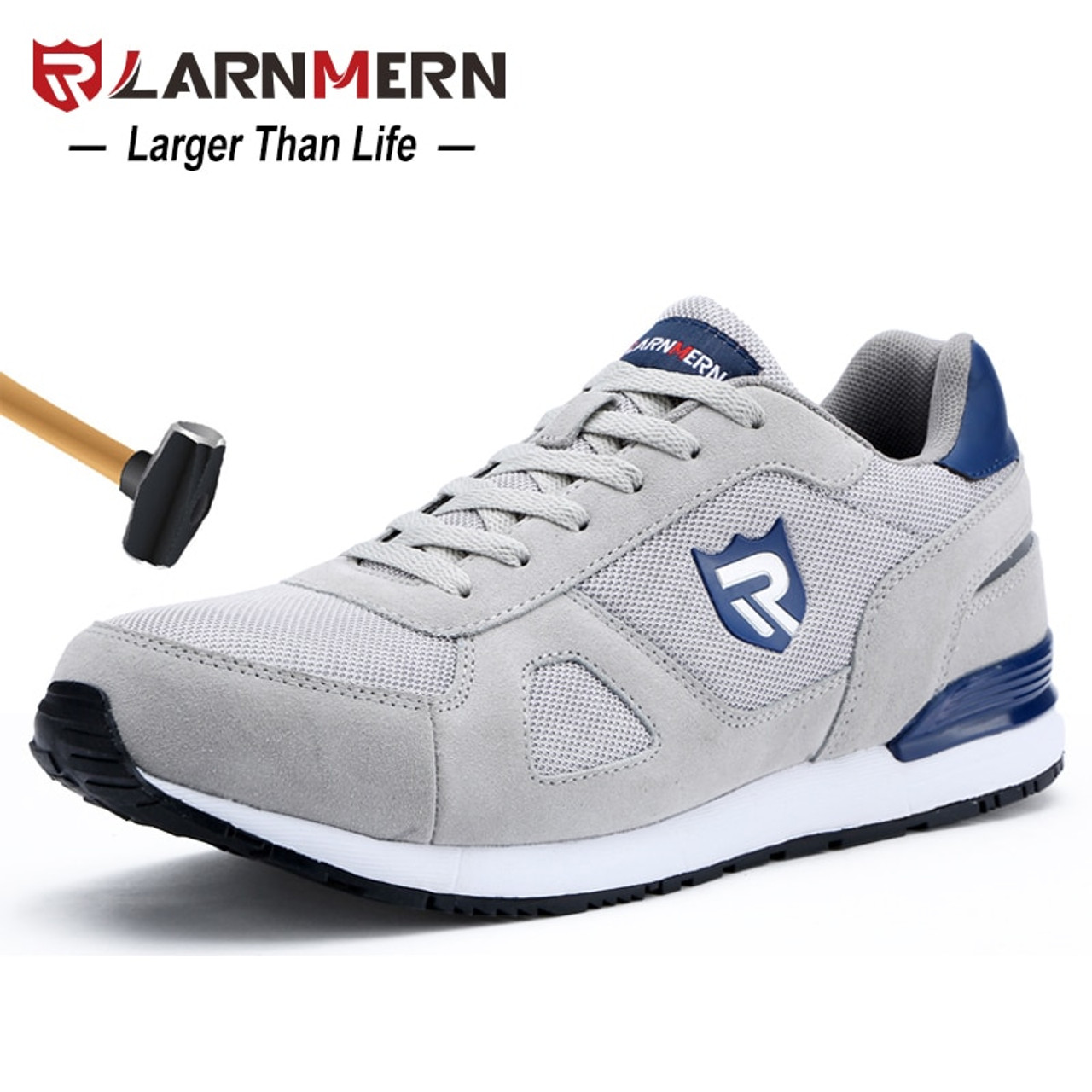 96b4c01d5663 LARNMERN Men Steel Toe Safety Shoes Casual Breathable Suede Work Shoes For  Men Protective Construction Footwear Sneaker