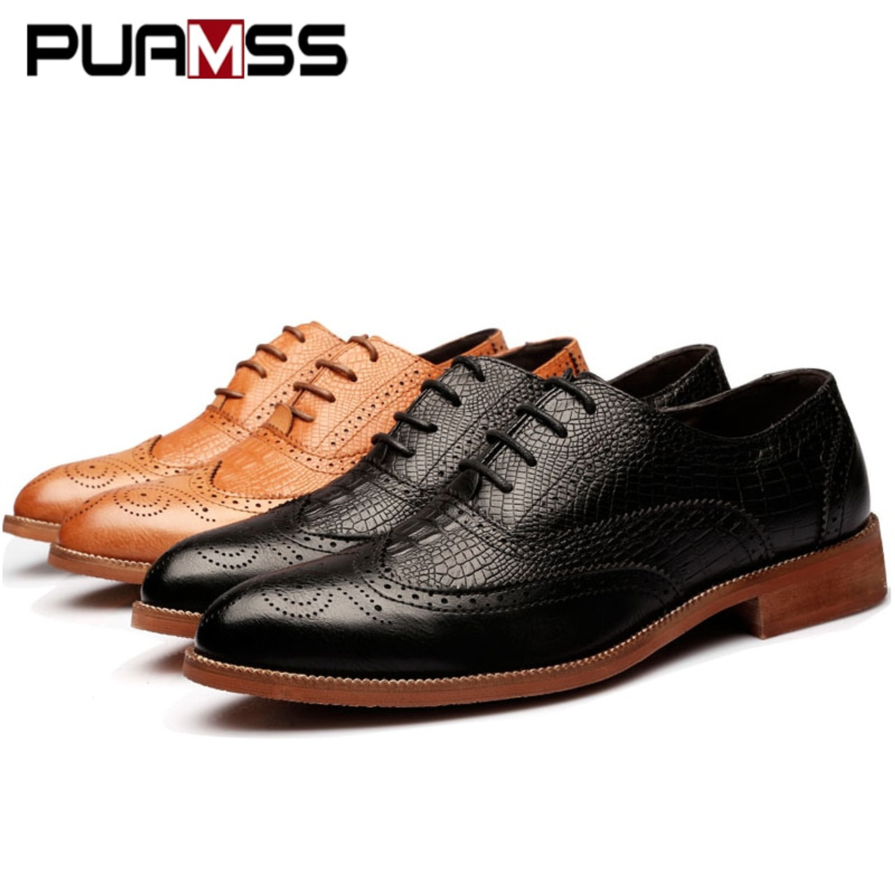 ... 2018 New Men Dress Shoes Handmade British Brogue Style Paty Leather  Wedding Shoes Men Flats Leather 1d07bd319735