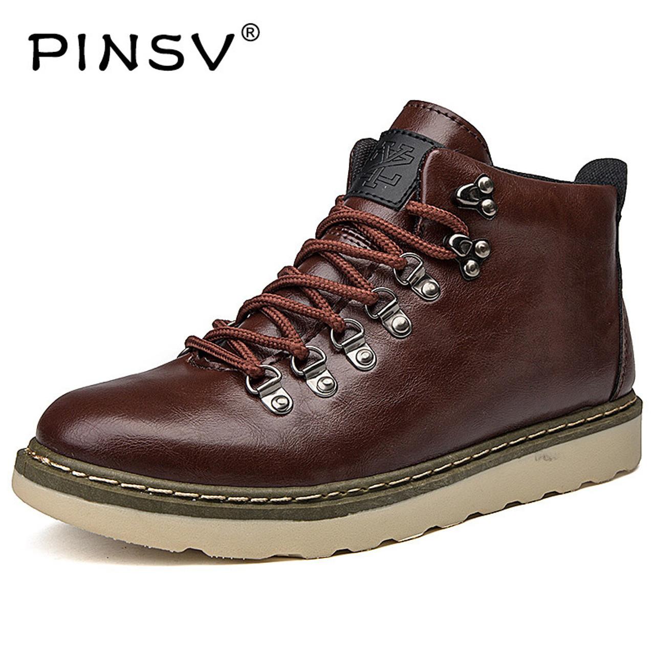 dbc5d0c155e PINSV 2018 Men Winter Martin Boots Trendy Leather Mens Ankle Boots High-Top  Lace-Up Men Casual Shoes botas de hombre