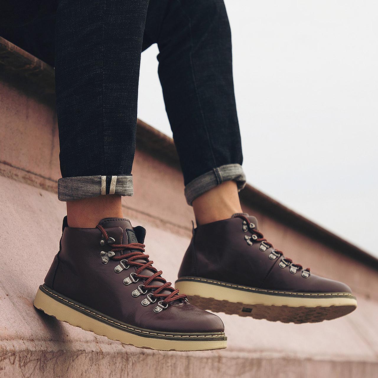 PINSV 2018 Men Winter Martin Boots Trendy Leather Mens Ankle Boots High Top Lace Up Men Casual Shoes botas de hombre