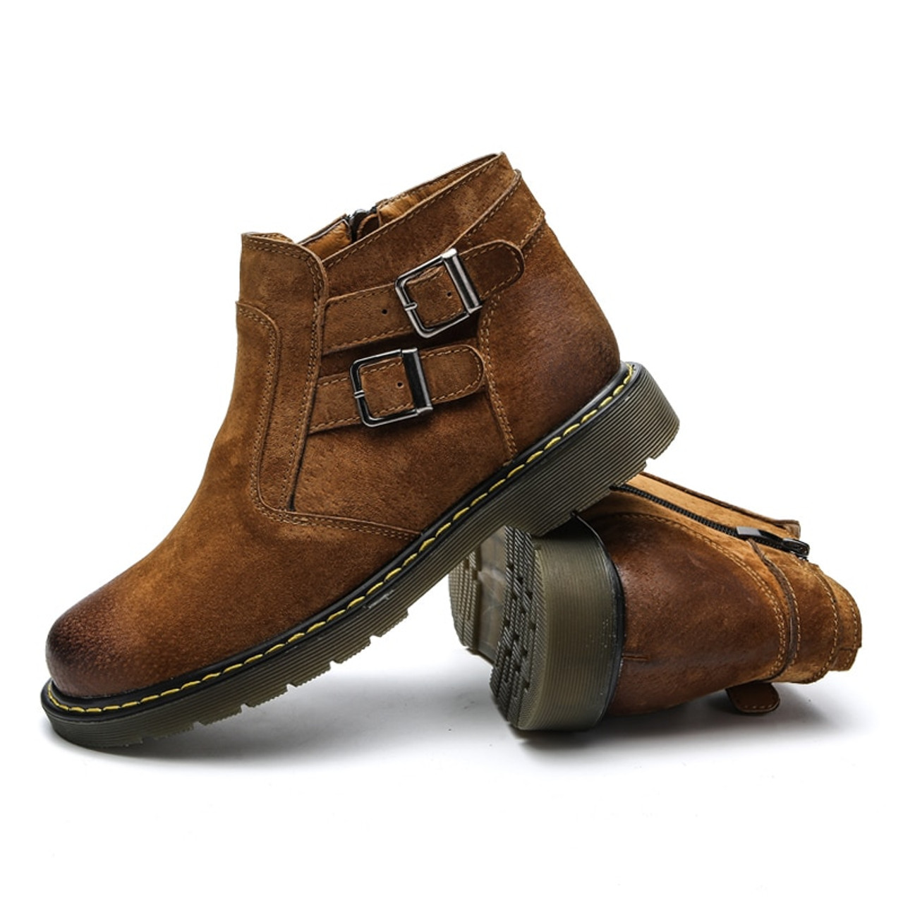 e90b40f0b42 Motorcycle boots men Genuine Leather shoes Fashion Ankle Boots Handmade  Retro zip Mens moto High Quality Vintage 39-44