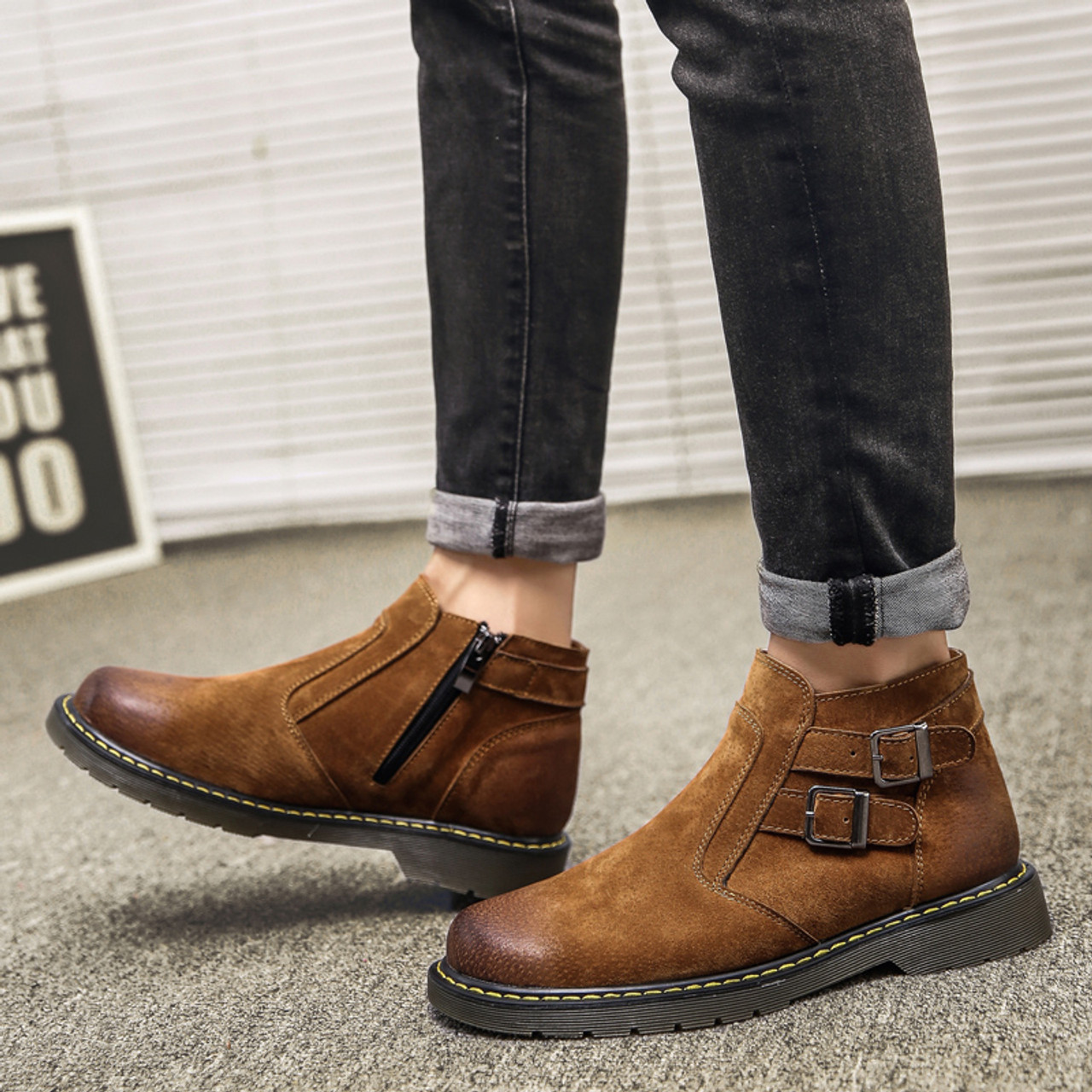 fe25009081a Motorcycle boots men Genuine Leather shoes Fashion Ankle Boots Handmade  Retro zip Mens moto High Quality Vintage 39-44