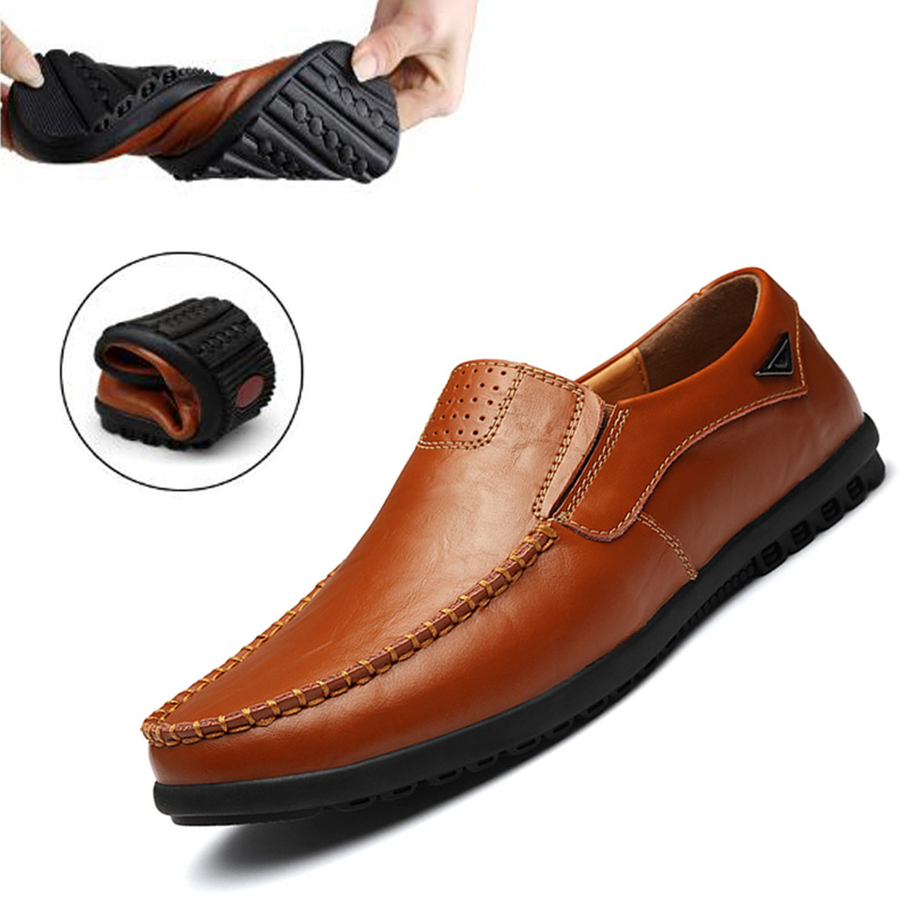 Italian Men Casual Shoes Summer Genuine Leather Loafers Moccasins Breathable Driving,Black,12