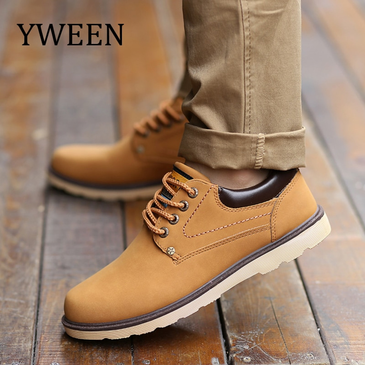 64fd93c94f9 YWEEN Hot Sale Shoes Men Spring Autumn Casual Shoes Men Solid Lace-up Men's  Shoes Fashion pu Leather Shoes