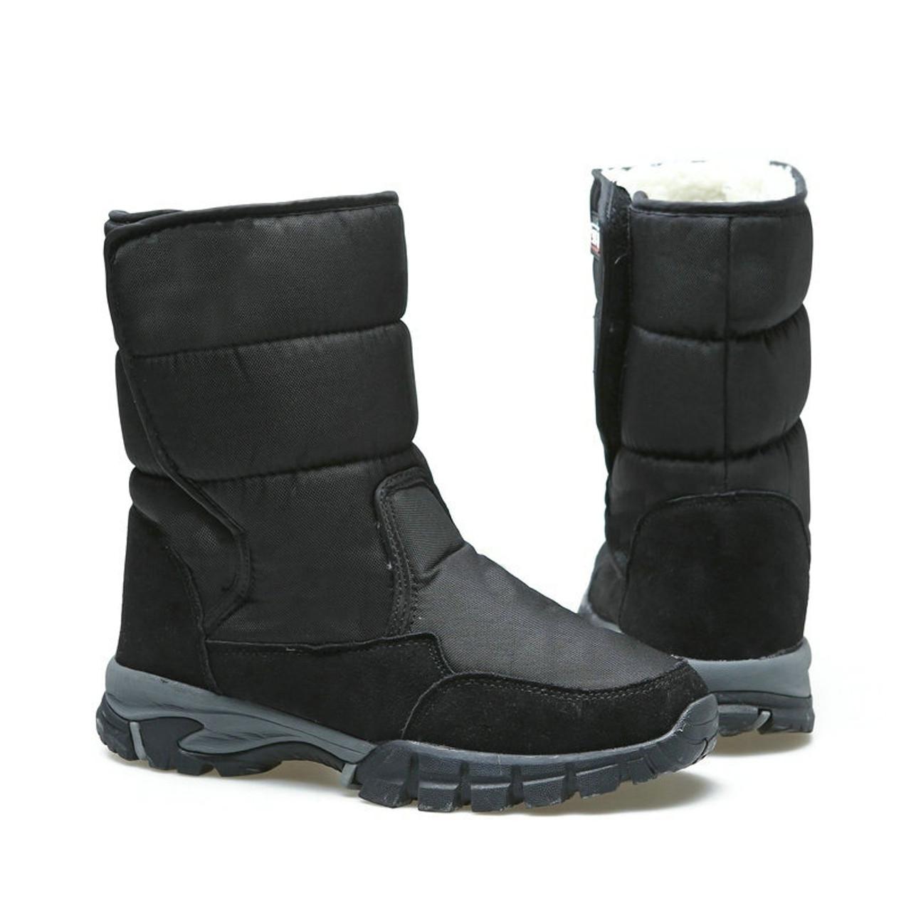 b963cc4cd7 2018 men boots black winter shoes male snowboots big size 48 warm fur Rubber  strong outsole ...