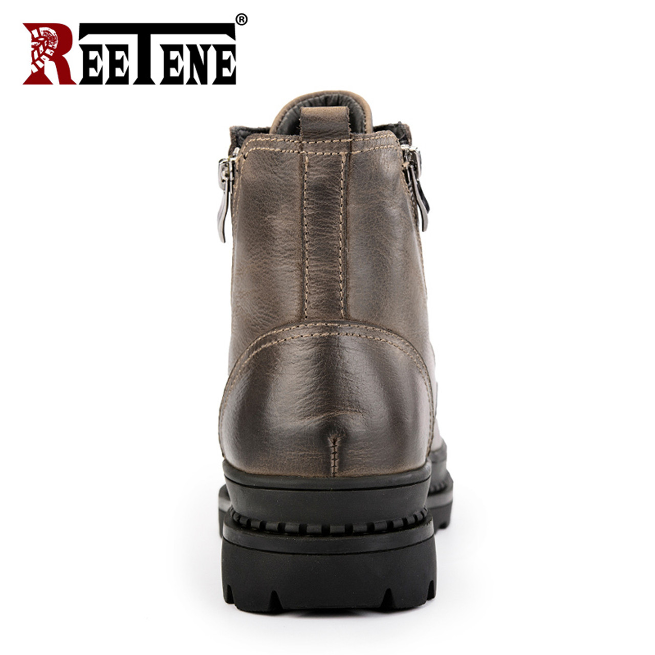 30b2d50fd991f ... REETENE Genuine Leather Men'S Boots High Quality Leather Men Boots Plush  2018 Zipper Winter Ankle Boots ...