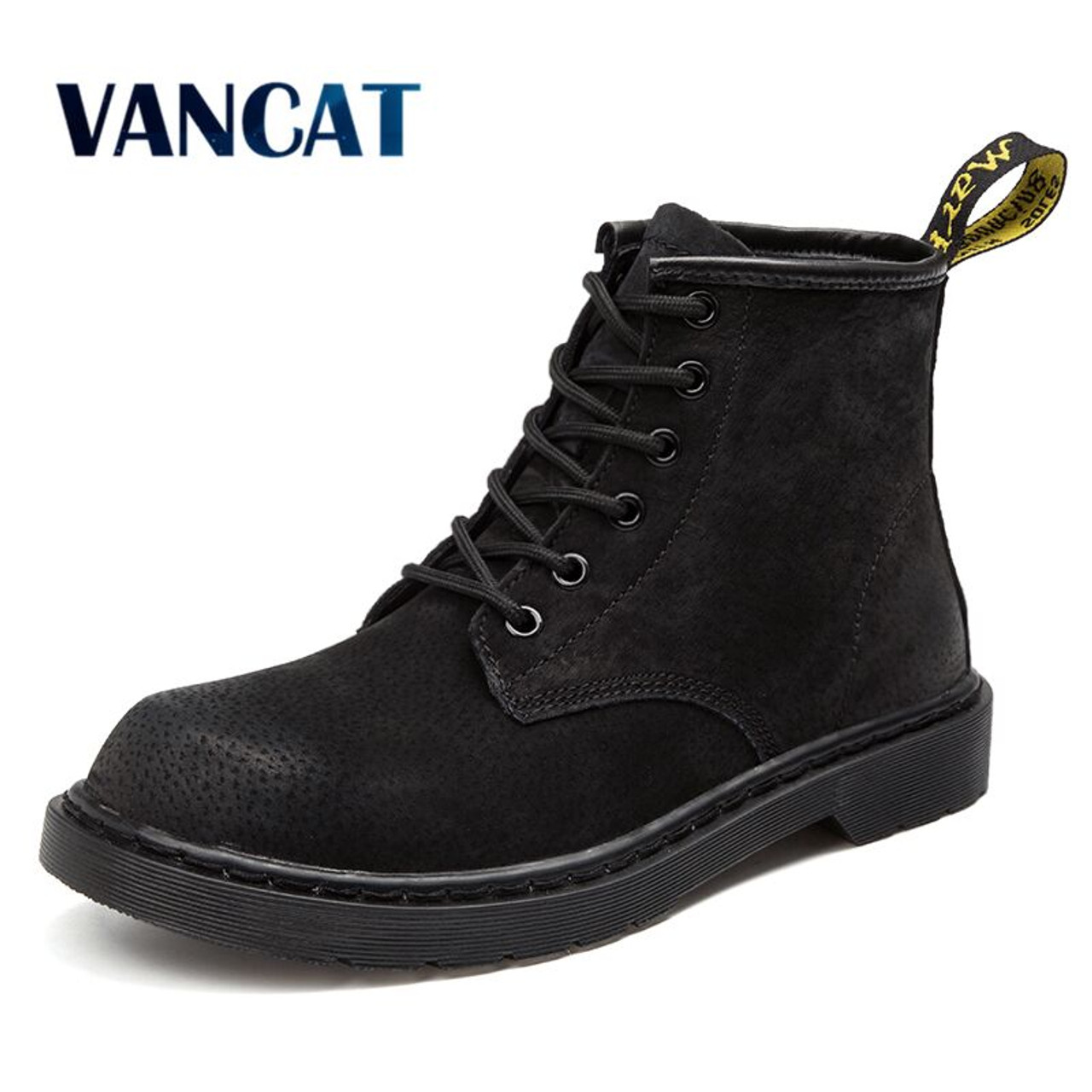 1063c73f2c5 Vancat Brand Warm Men s Autumn Winter Genuine Leather Men Waterproof Snow  Boots Work Safety Ankle Boots ...